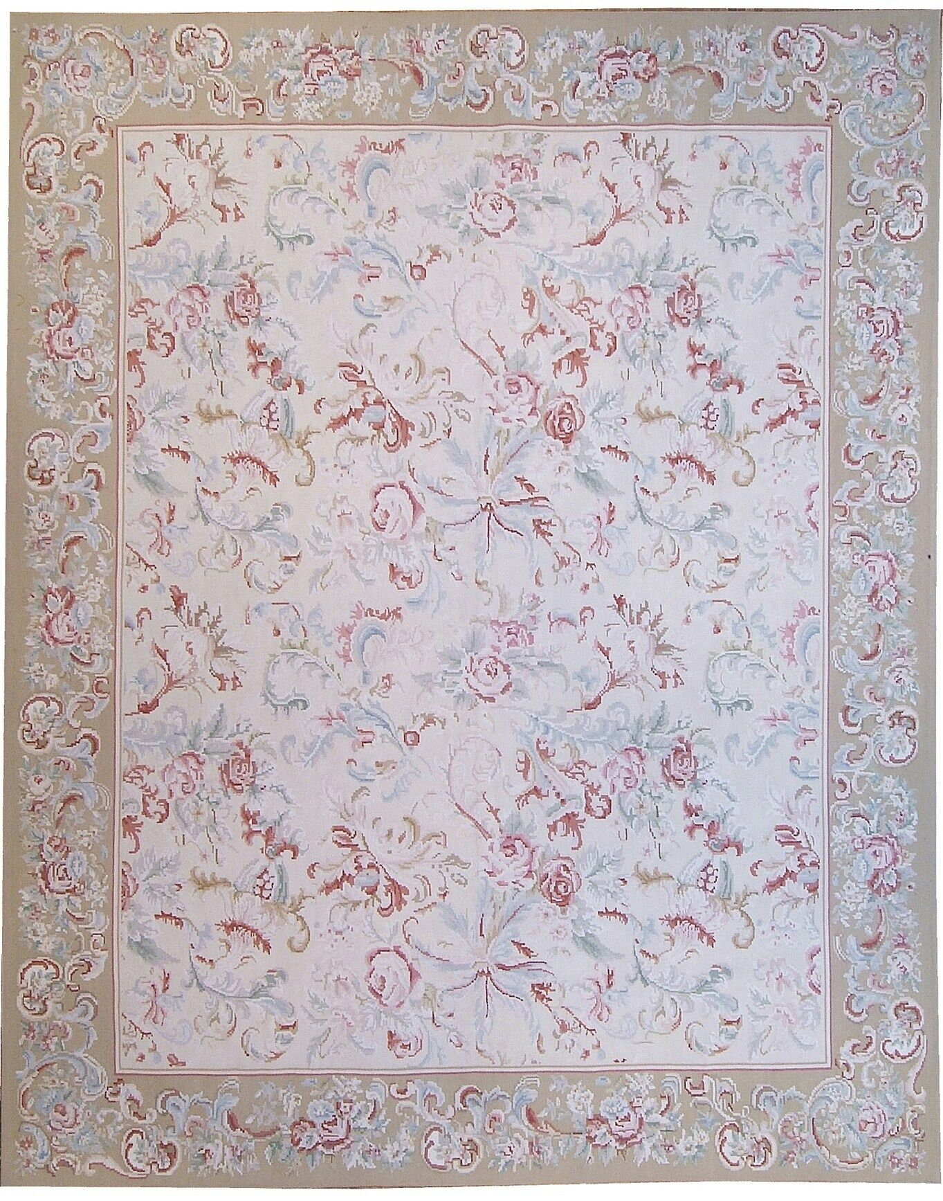 Aubusson Hand Woven Wool Beige Area Rug Rug Size: Rectangle 9'10