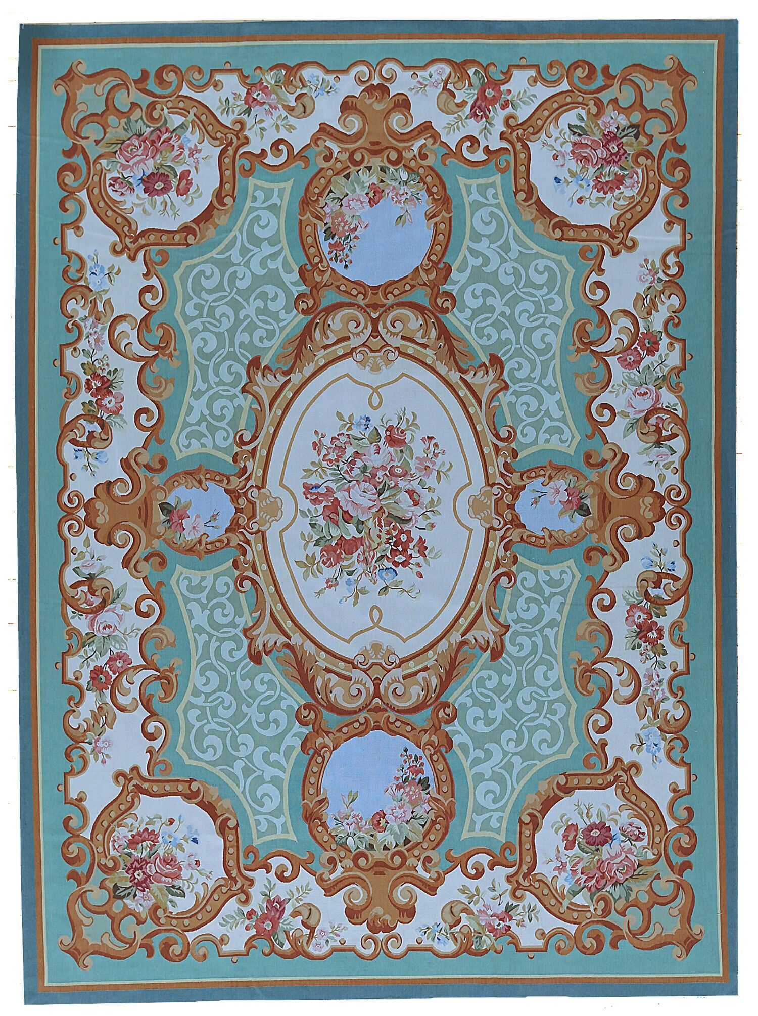 Aubusson Hand Woven Wool Green Area Rug