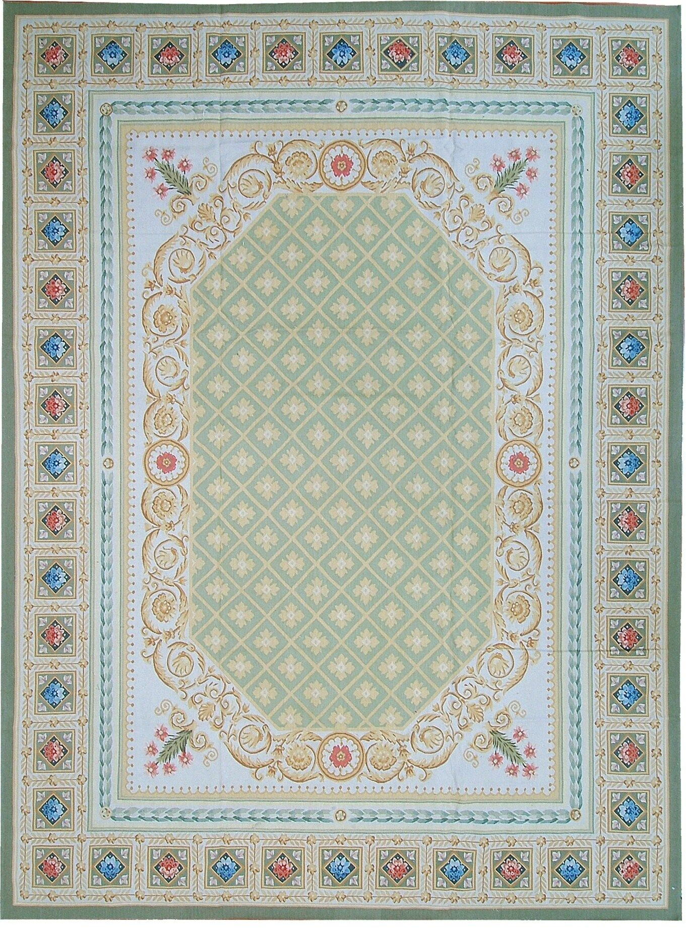 Aubusson Hand Woven Wool Green Area Rug Rug Size: Rectangle 9'11