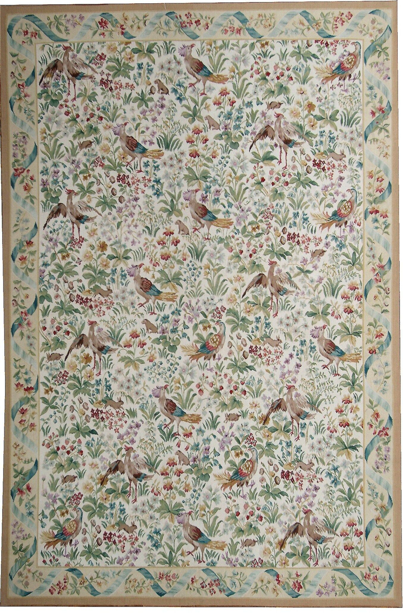 Aubusson Hand Woven Wool Green/Brown Area Rug Rug Size: Rectangle 10' 2