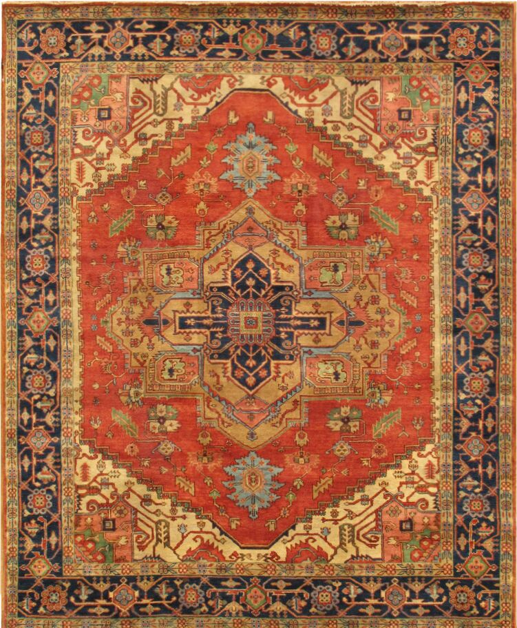 Serapi Tribal Hand-Knotted Wool Red/Navy Area Rug Rug Size: Rectangle 4'11