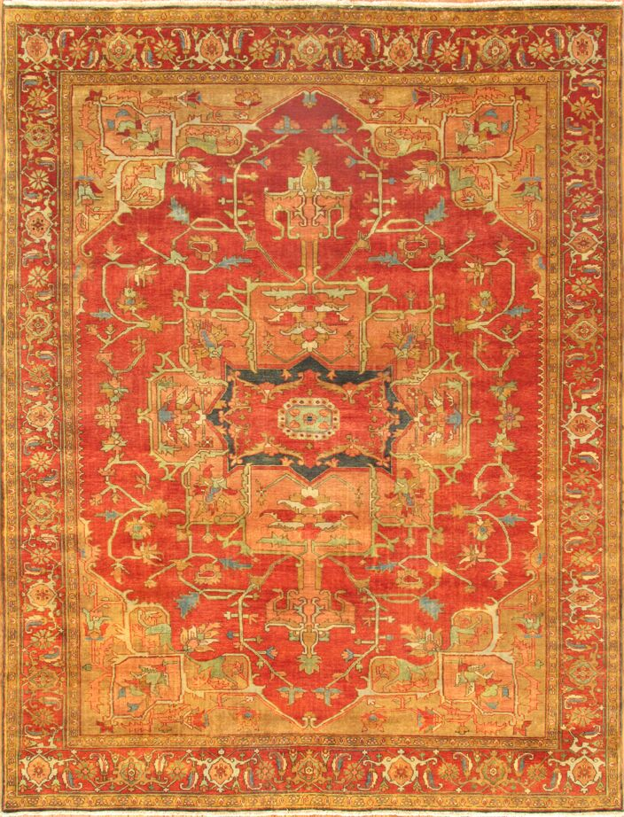 Serapi Tribal Hand-Woven Wool Red/Gold Area Rug Rug Size: Rectangle 12'0