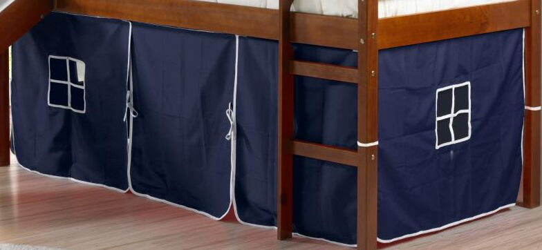Innis Curtain Set for Twin Loft Bed Color: Blue