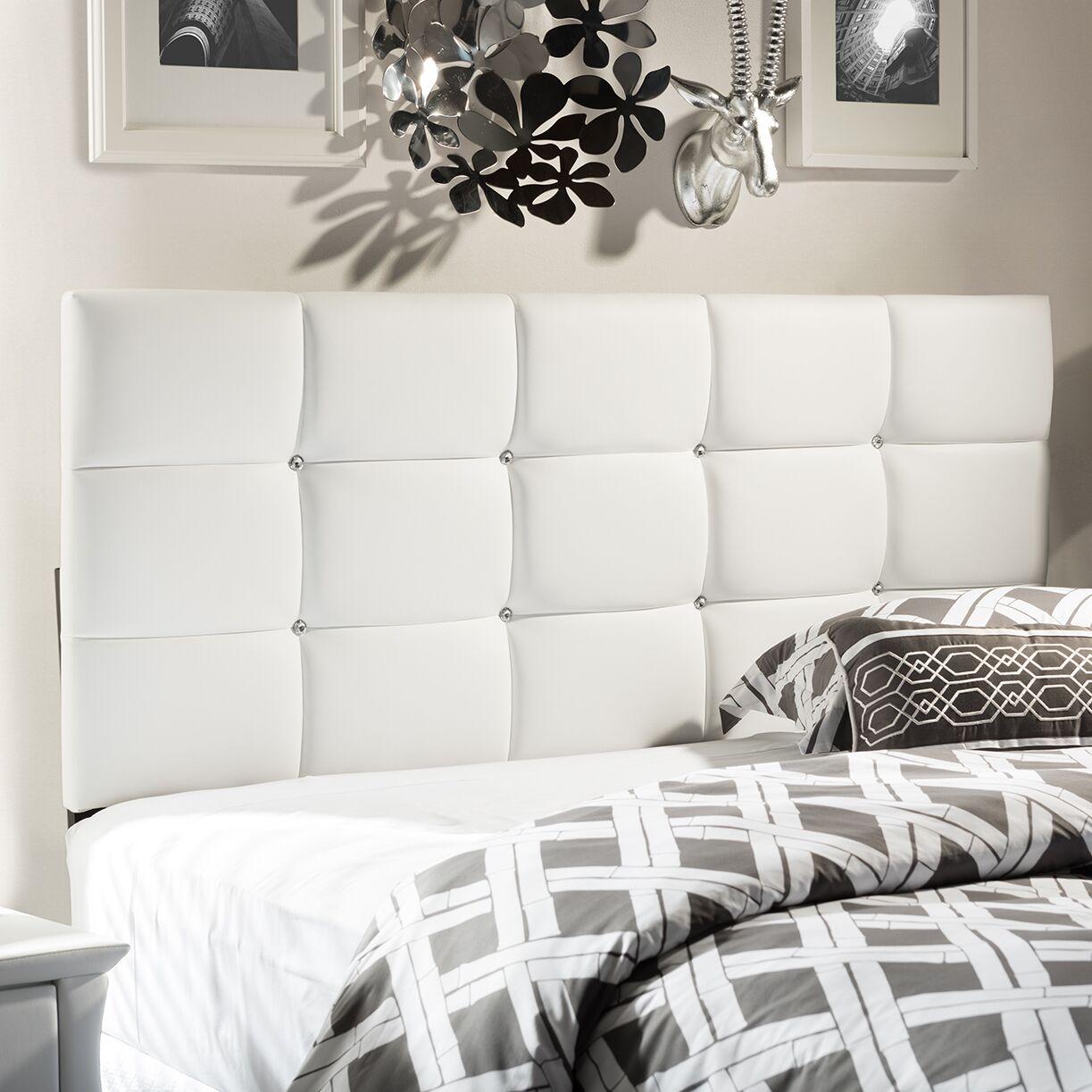 Bordeaux Upholstered Panel Headboard Size: Full, Upholstery: White