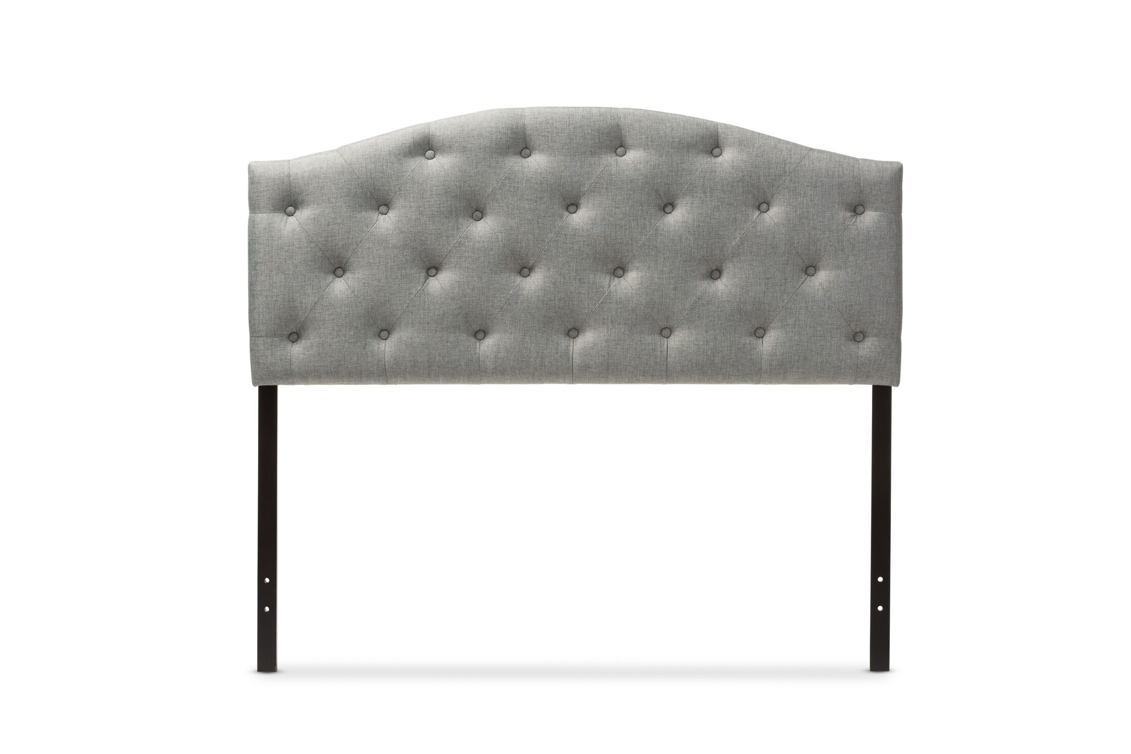 Myra Grey Scalloped Full Upholstered Panel Headboard