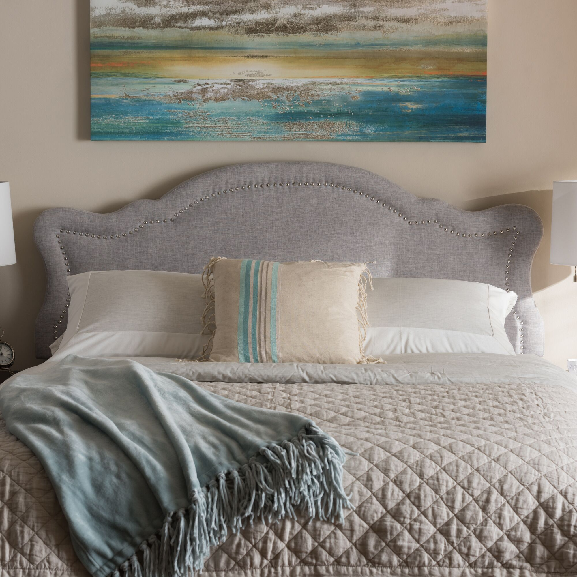 Rosana King Upholstered Panel Headboard Upholstery: Grayish Beige