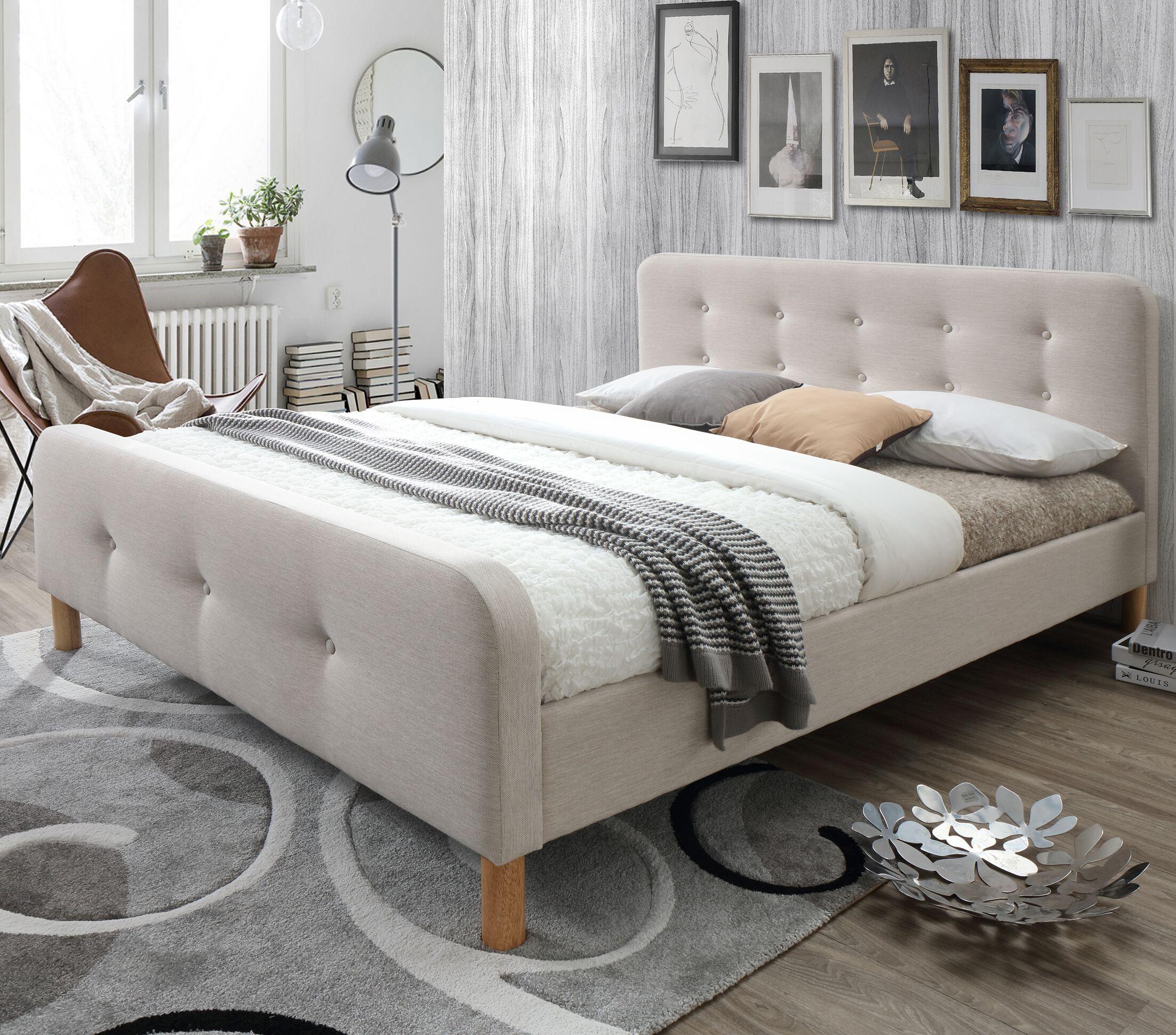 Riccardo Mid-Century Fabric Upholstered Platform Bed Size: King, Color: Light Beige