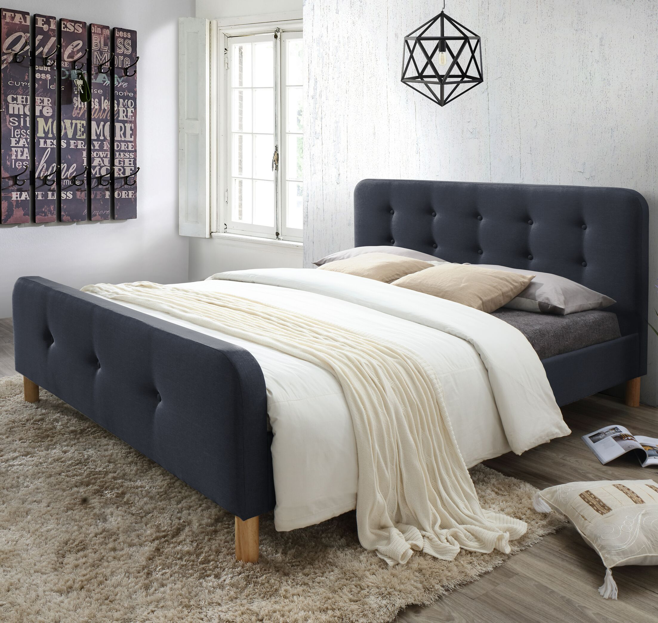 Riccardo Mid-Century Fabric Upholstered Platform Bed Color: Charcoal Gray, Size: King