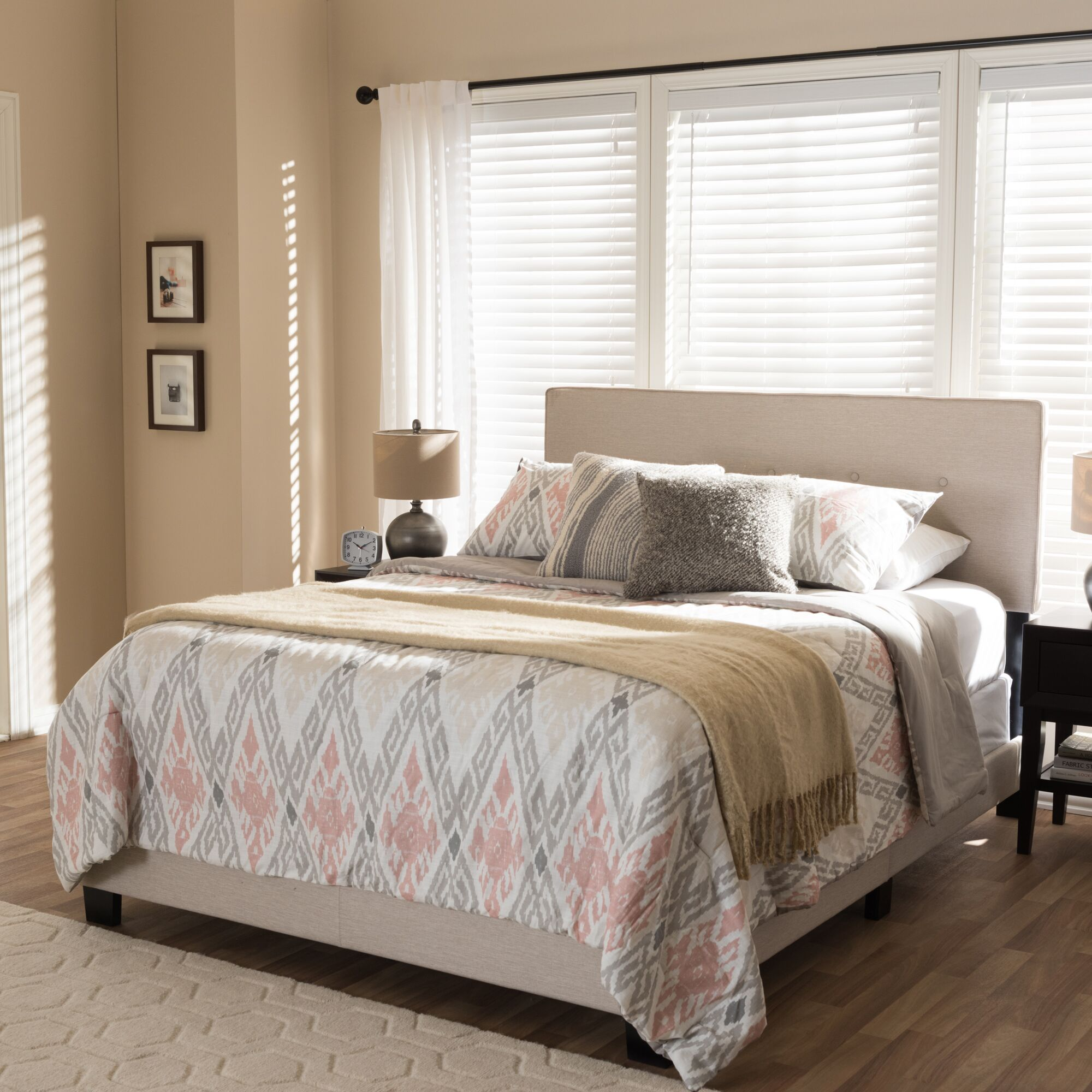 Sampson Fabric Upholstered Panel Bed Size: King, Color: Light Beige