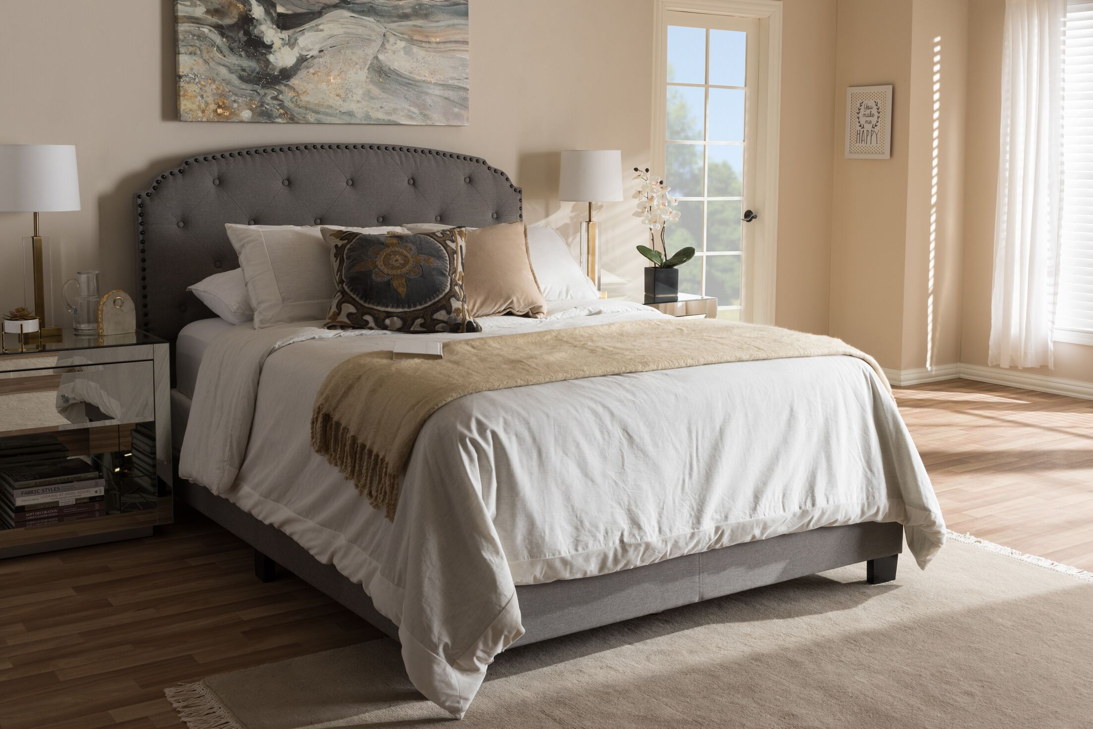 Mariana Fabric Upholstered Panel Bed Color: Light Gray, Size: Queen