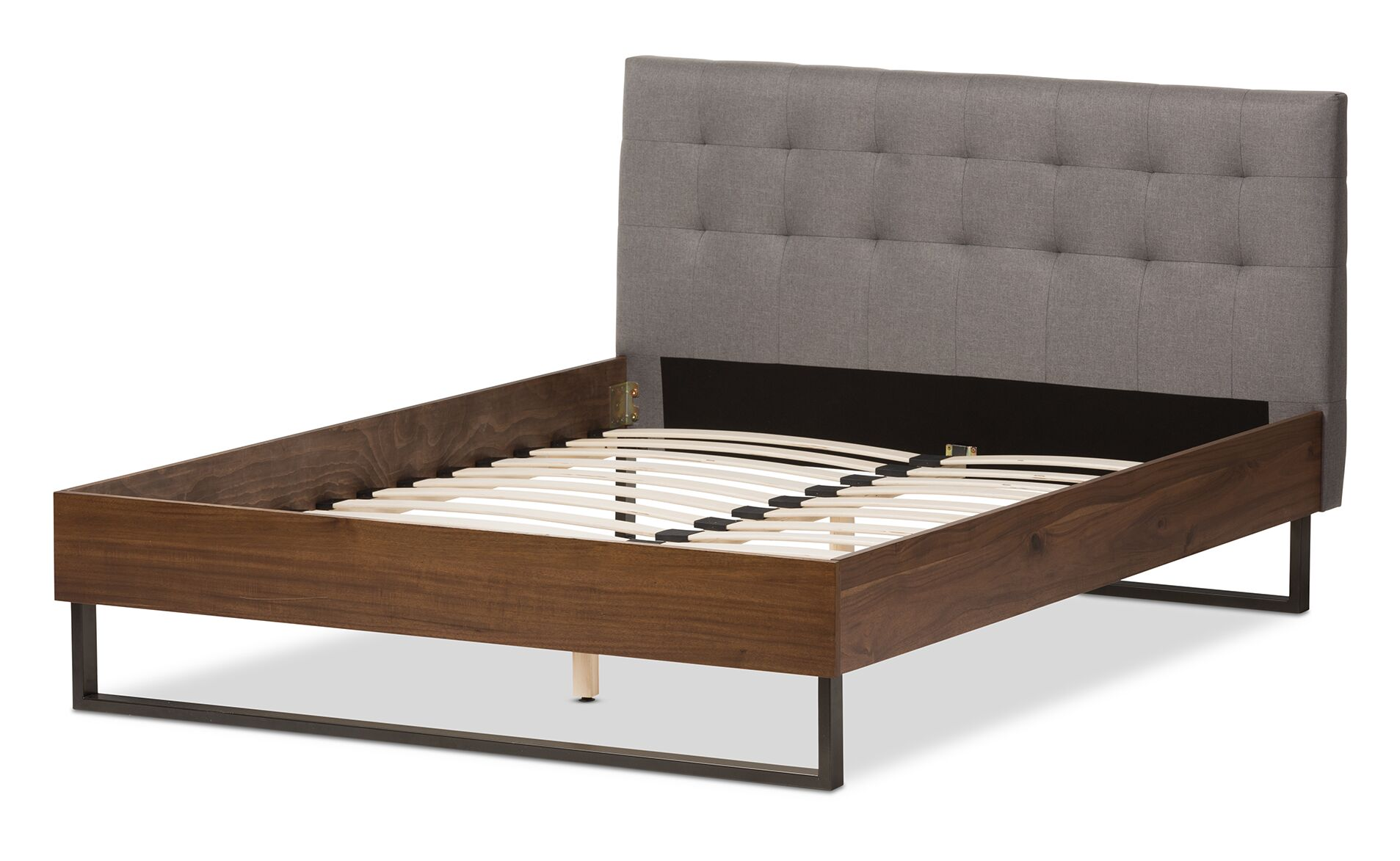 Baxton Studio Alberto Upholstered Platform Bed Size: Full, Headboard Color: Gray Linen
