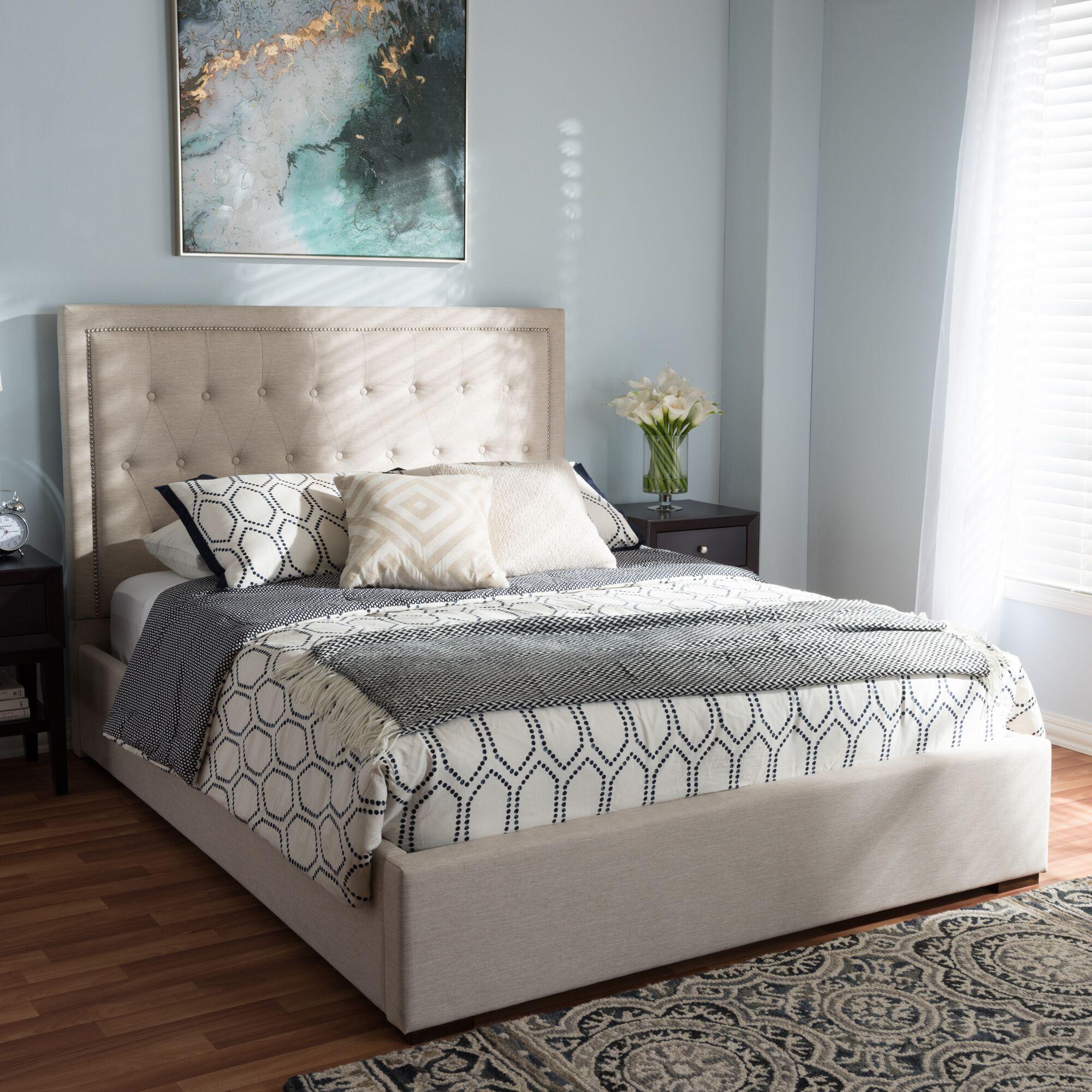 Sedgwick Queen Storage Platform Bed Color: Light Beige