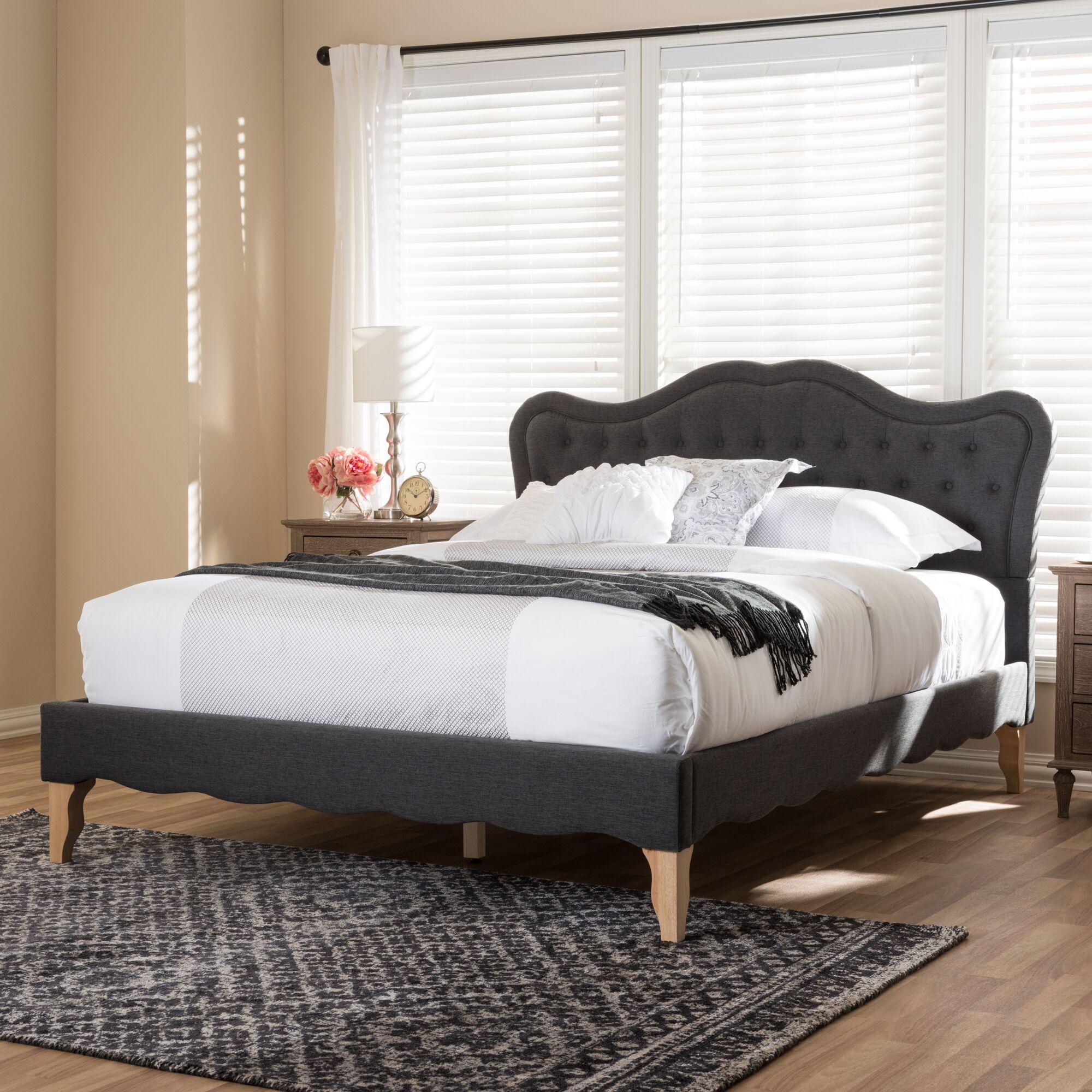 Adalheida Upholstered Platform Bed Color: Dark Gray, Size: Full/Double
