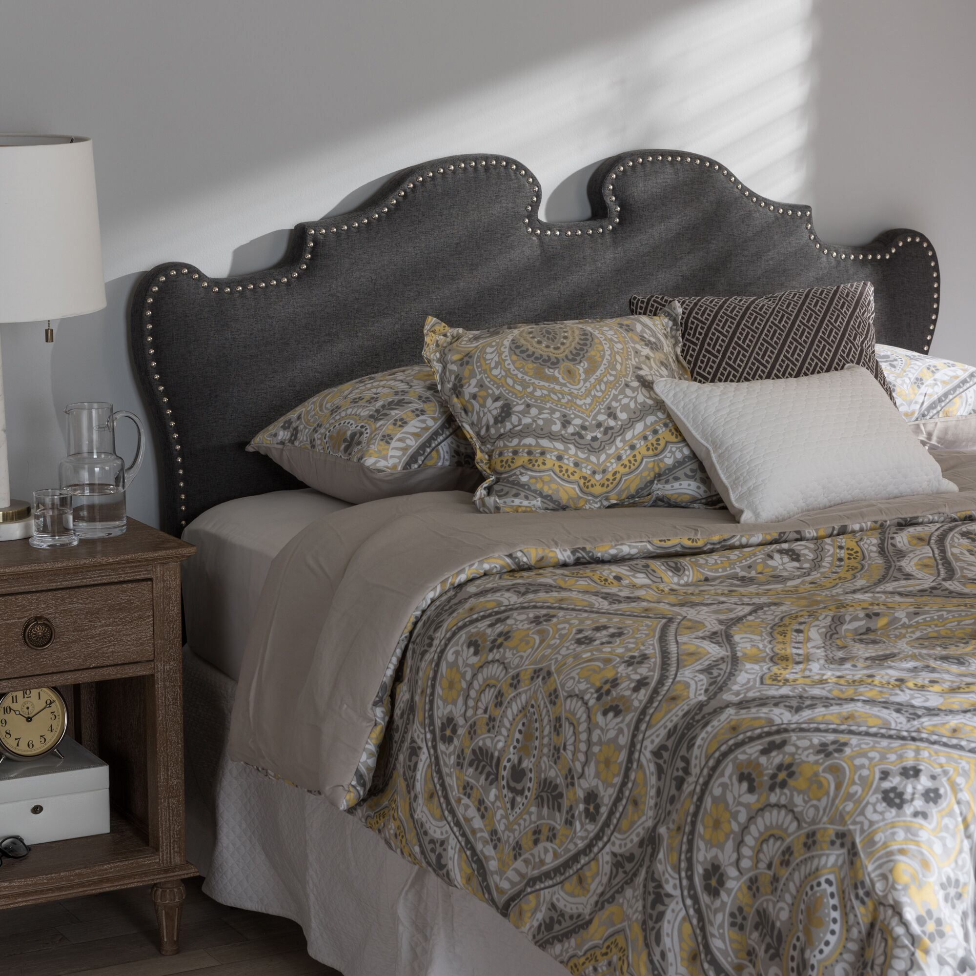 Brockett Upholstery Panel Headboard Upholstery: Dark Gray, Size: King