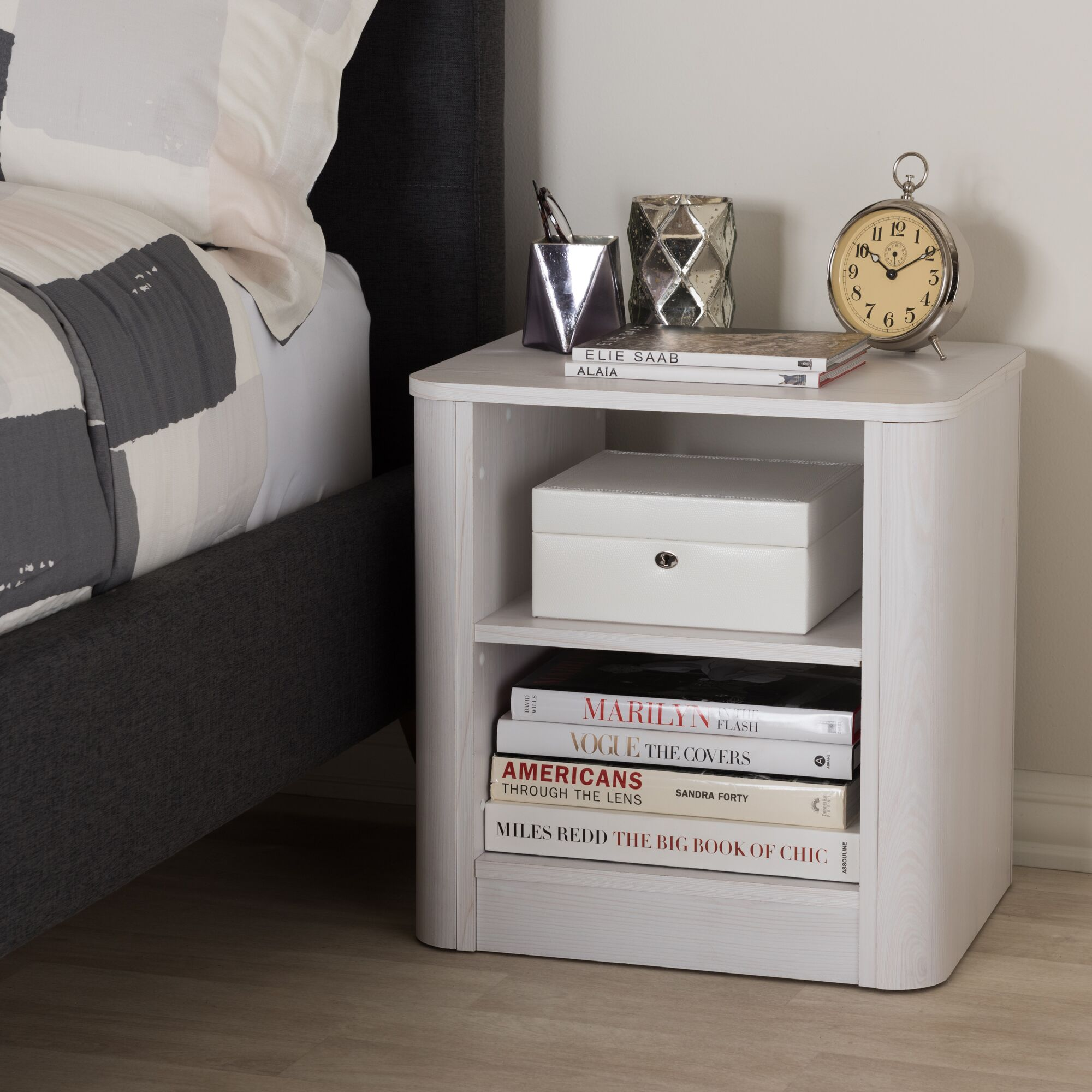 Polito Wood 2-Shelf Nightstand Color: Whitewashed