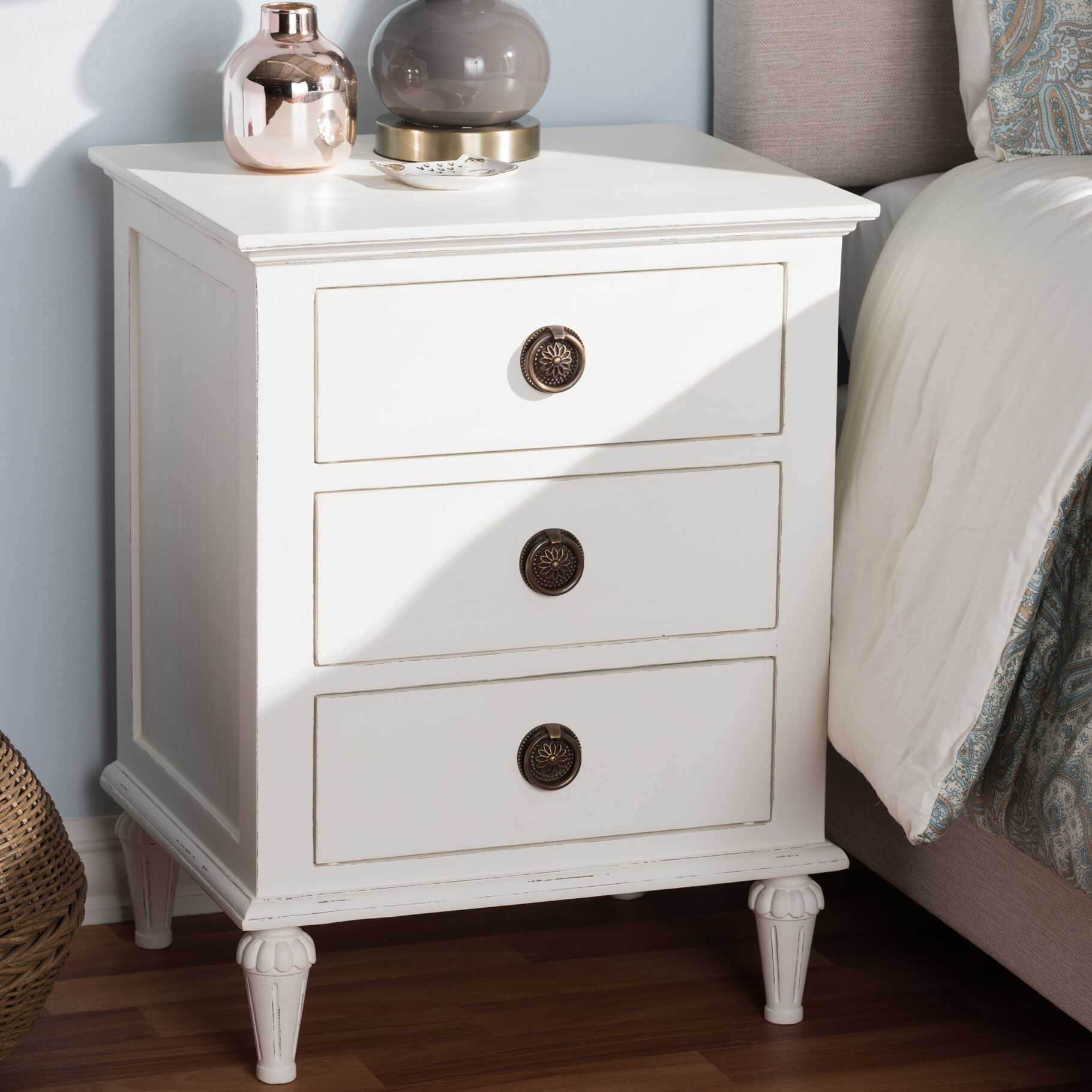Michel 3 Drawer Nightstand Color: White Wash