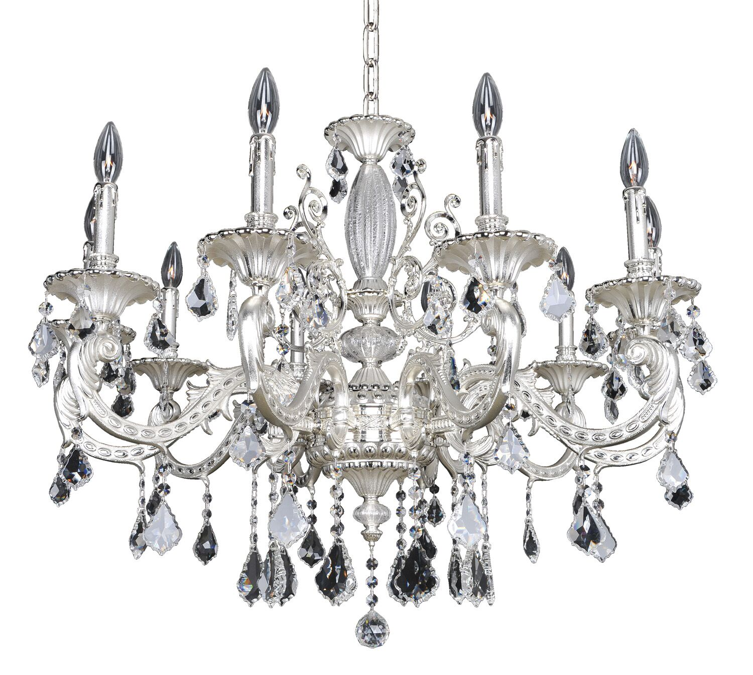 Casella 10-Light Candle Style Chandelier Crystal: Swarovski Elements Clear