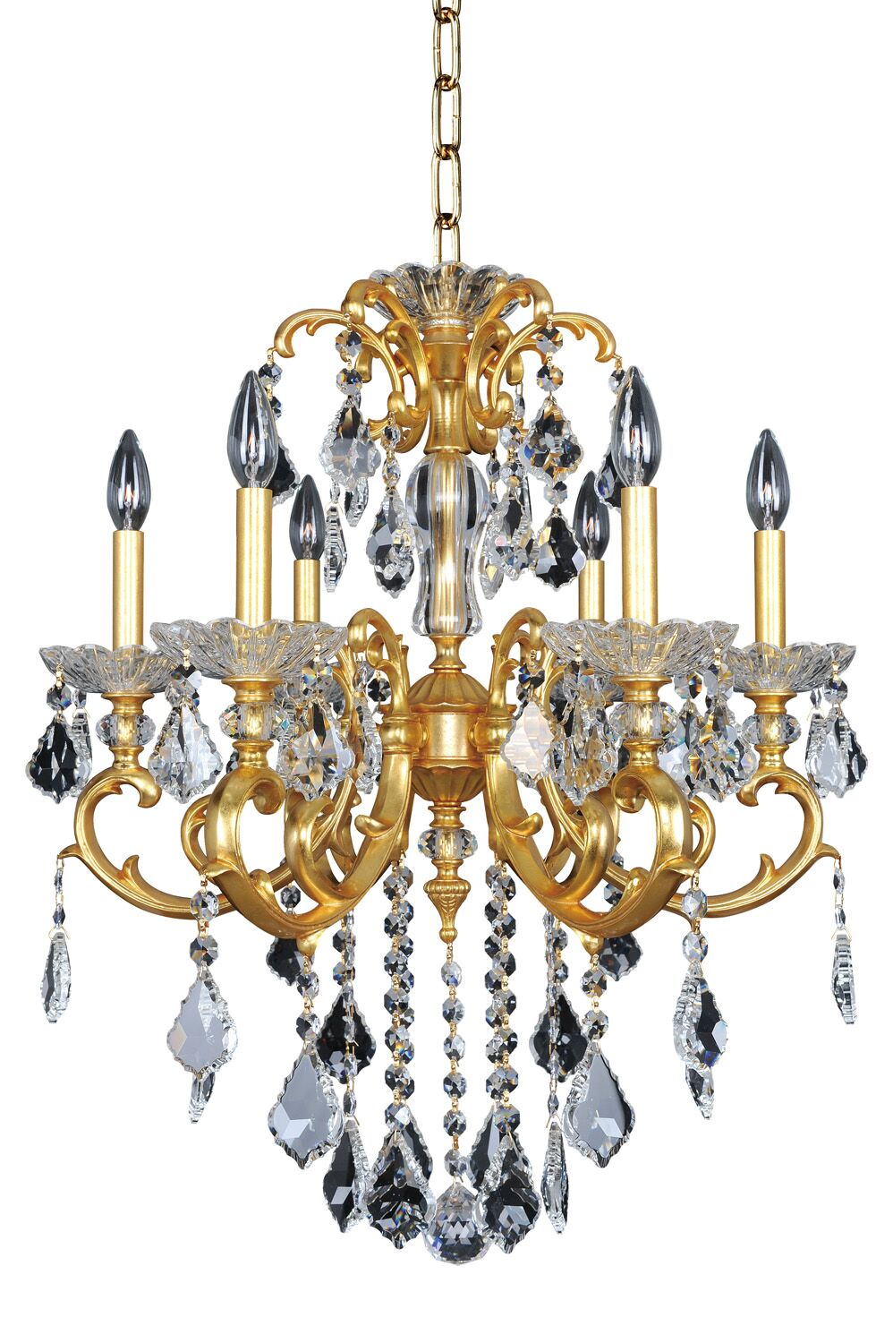 Praetorius 6-Light Candle Style Chandelier Crystal: Firenze Clear, Finish: 2-Tone Silver
