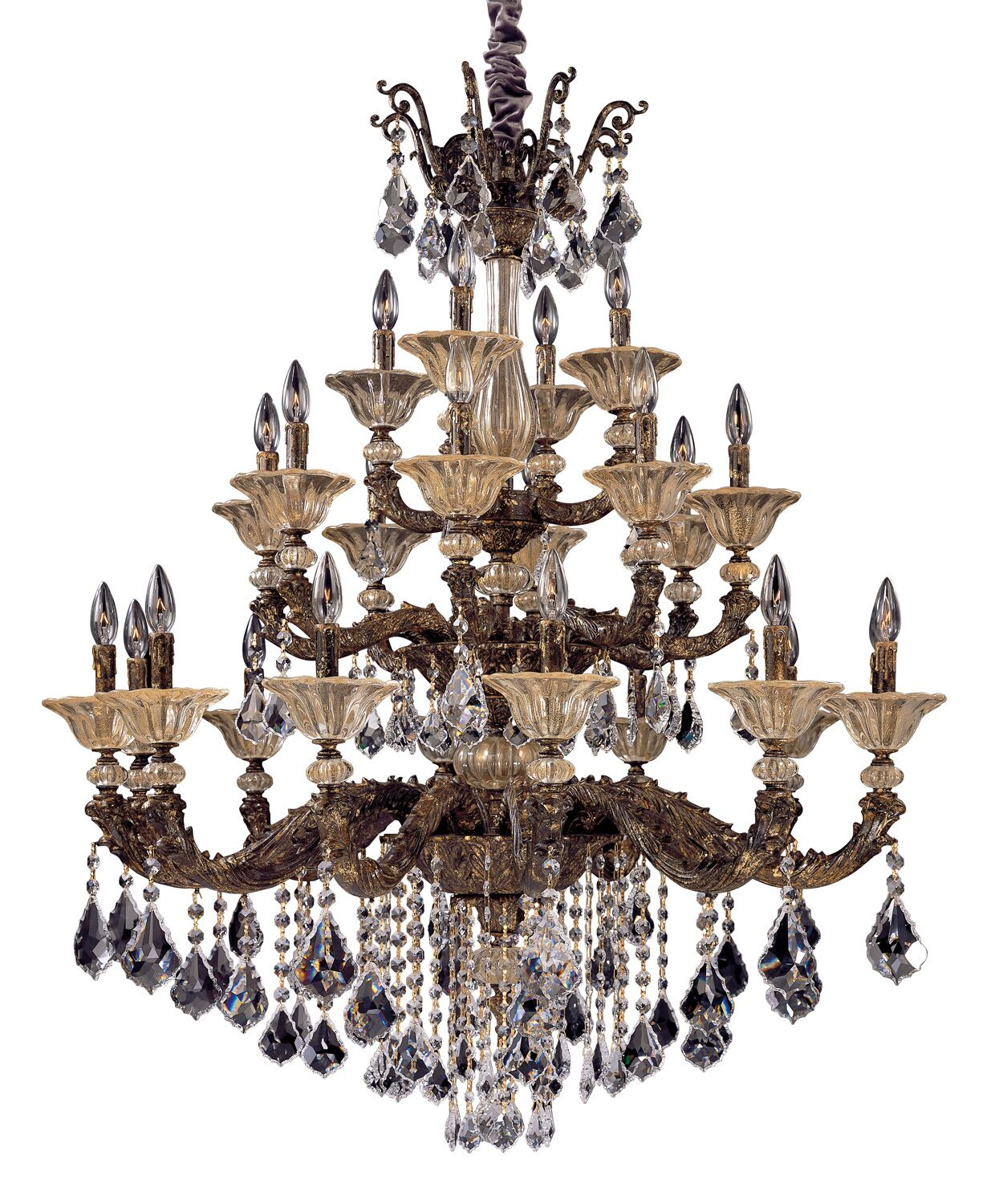 Mendelsshon 24-Light Candle Style Chandelier Crystal: Firenze Clear, Finish: Two-Tone Gold /24K