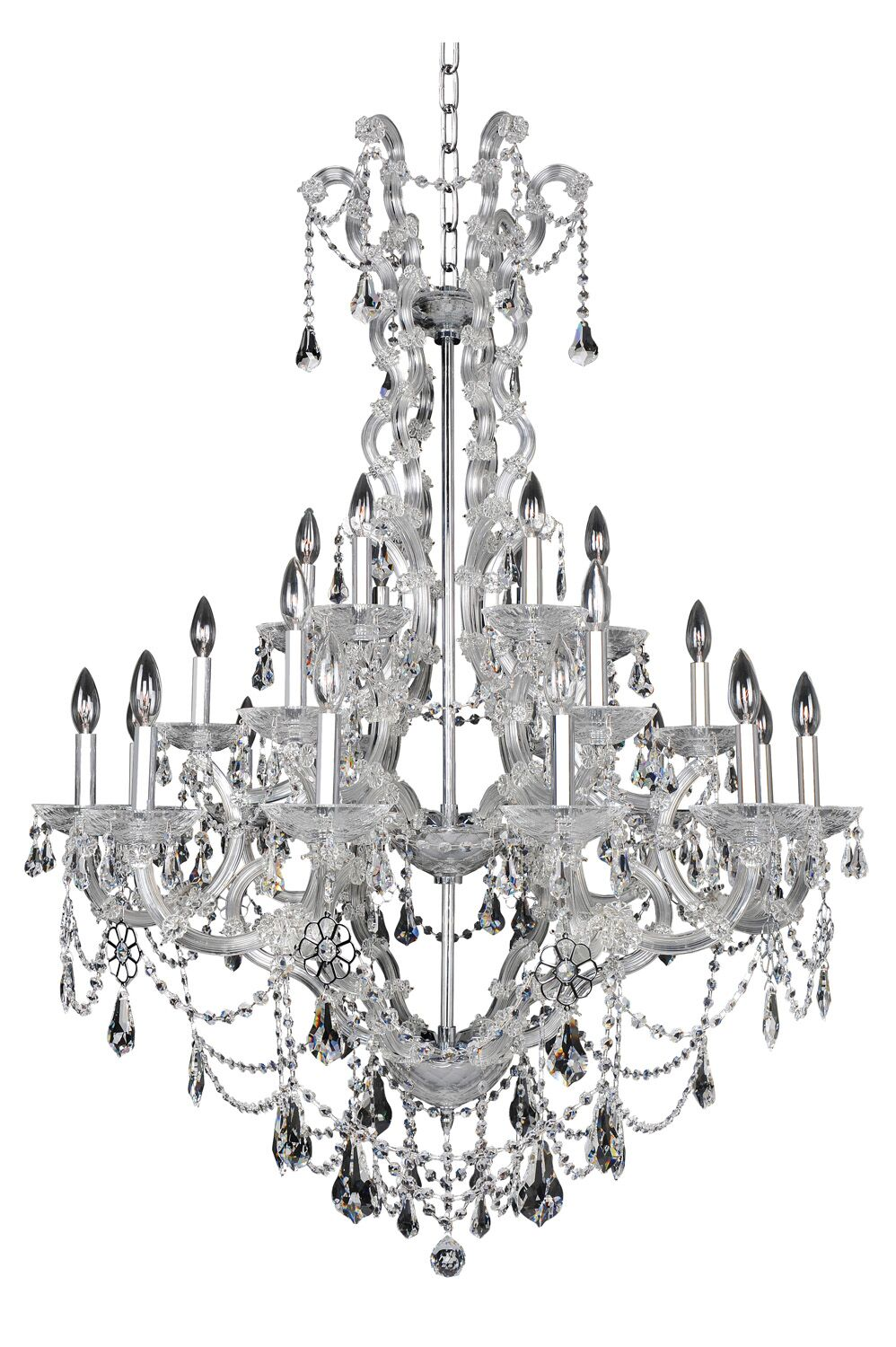 Brahms 24-Light Candle Style Chandelier Crystal: Firenze Clear