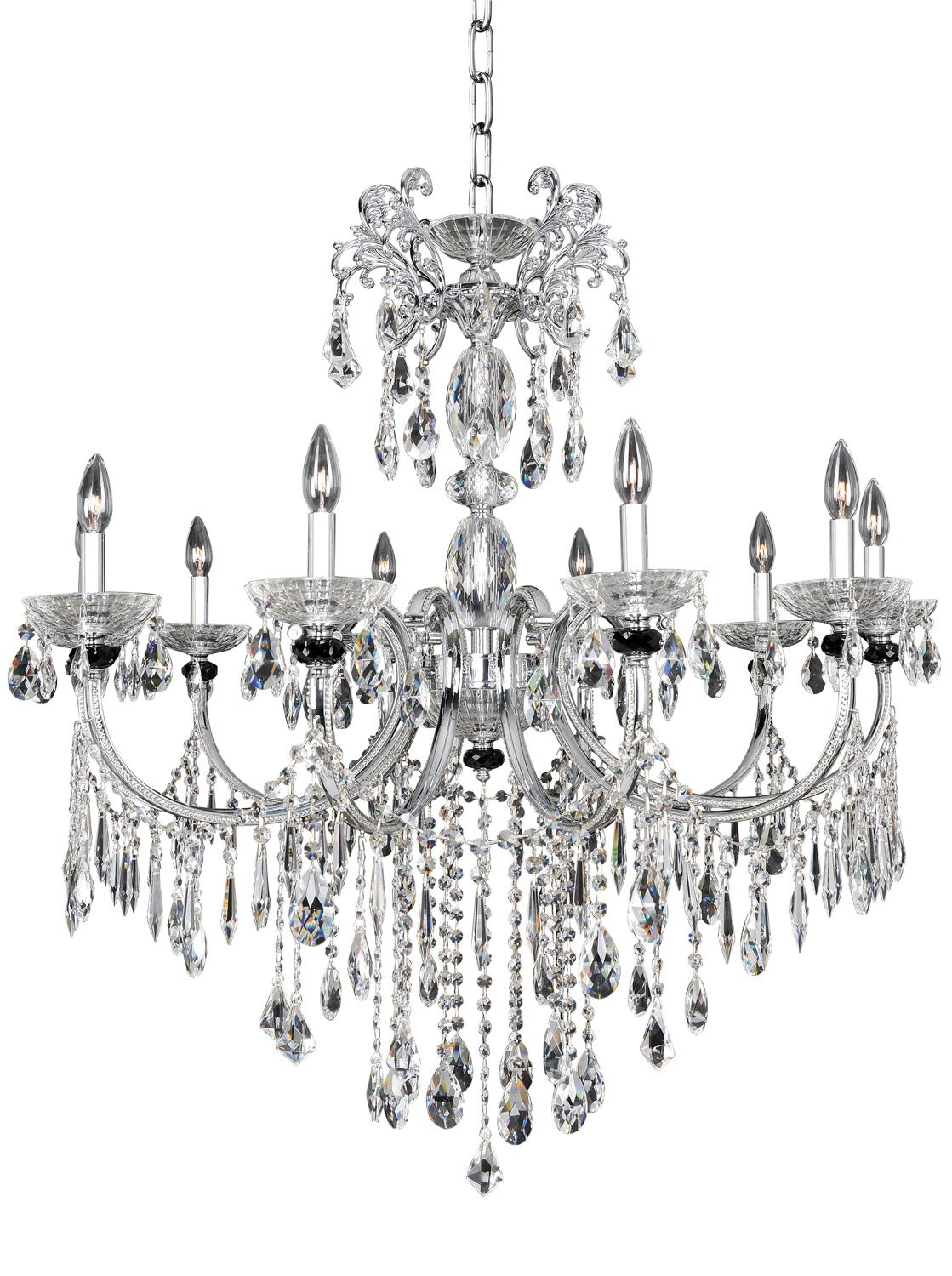 Steffani 10-Light Candle Style Chandelier Crystal: Swarovski Elements Clear