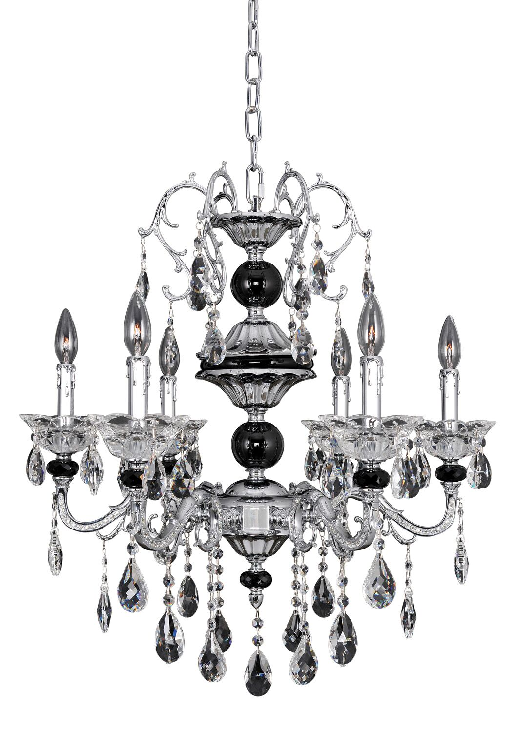 Faure 6-Light Candle Style Chandelier Crystal: Swarovski Elements Clear