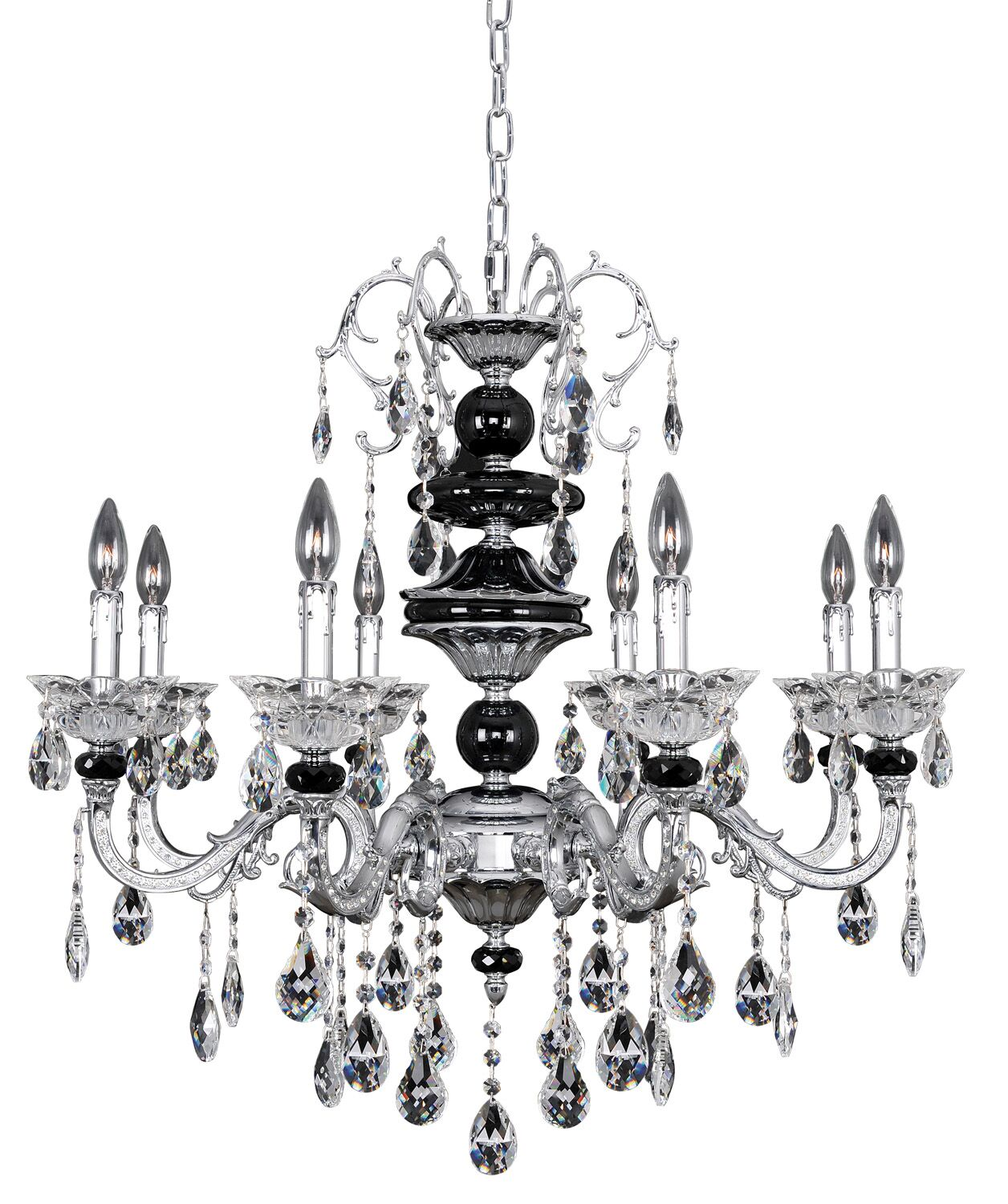 Faure 8-Light Candle Style Chandelier Crystal: Firenze Clear