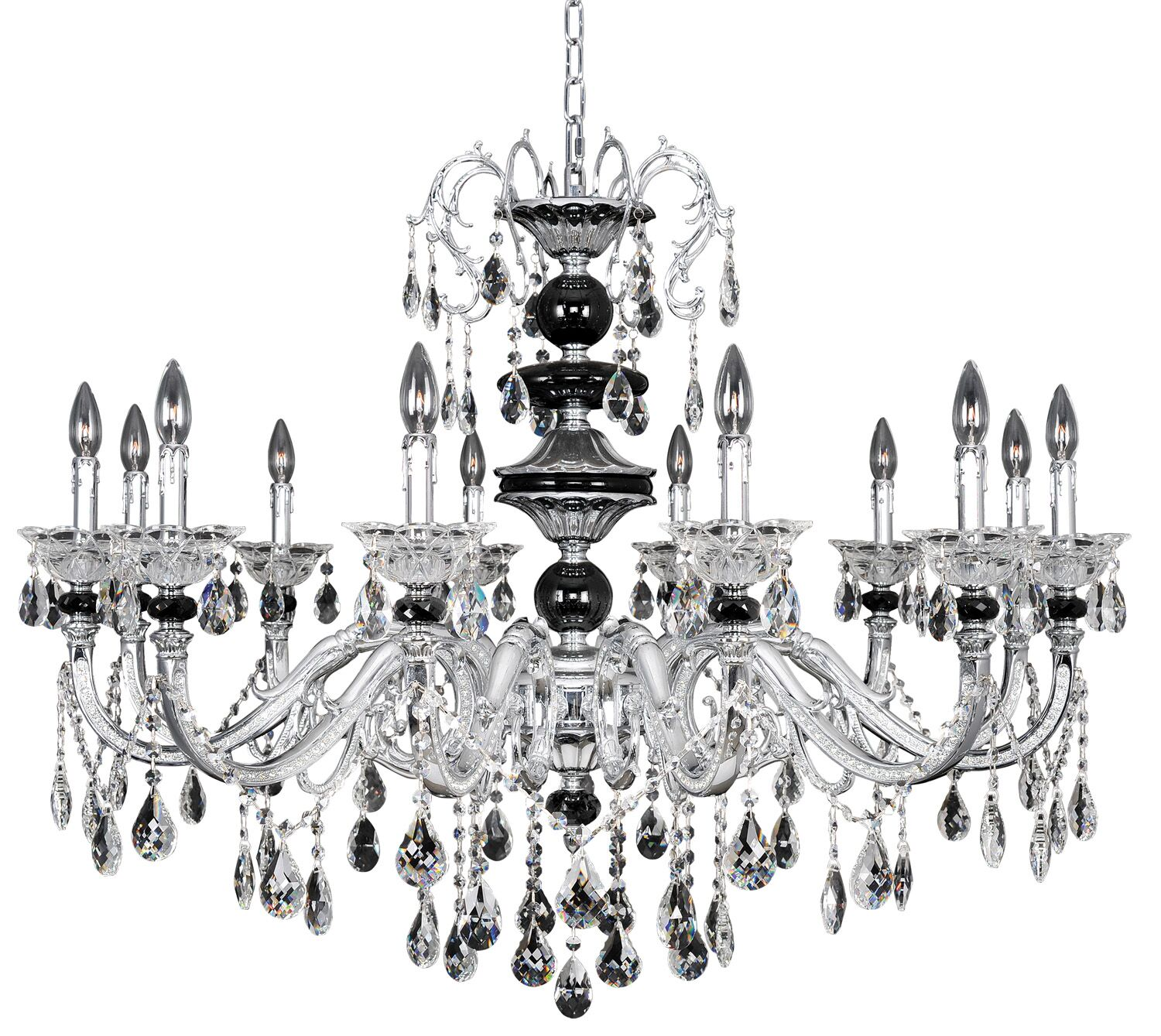 Faure 12-Light Candle Style Chandelier Crystal: Swarovski Elements Clear