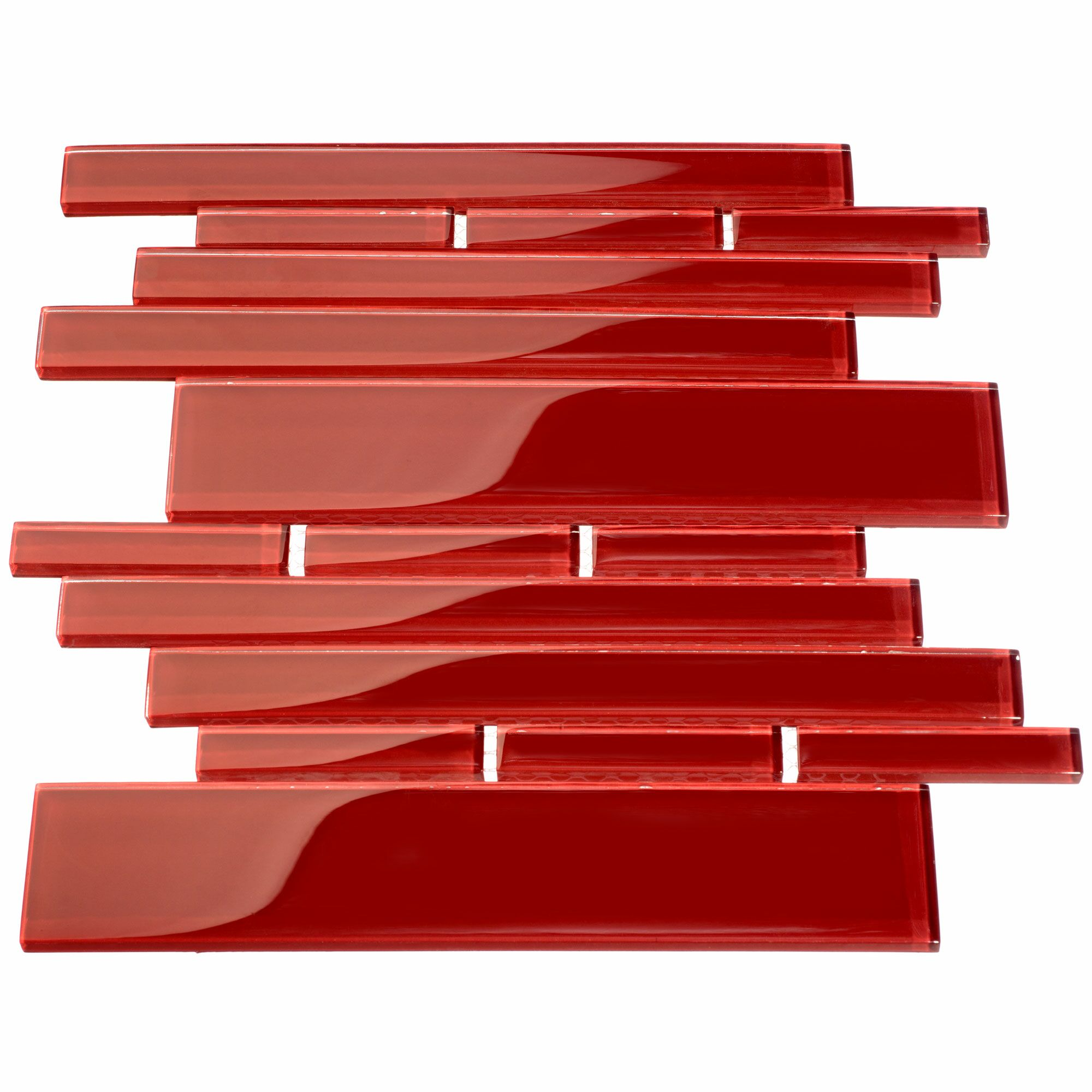 Club Random Sized Glass Mosaic Tile in Ruby Red