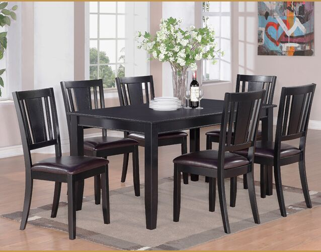 Dudley 7 Piece Dining Set Finish: Black
