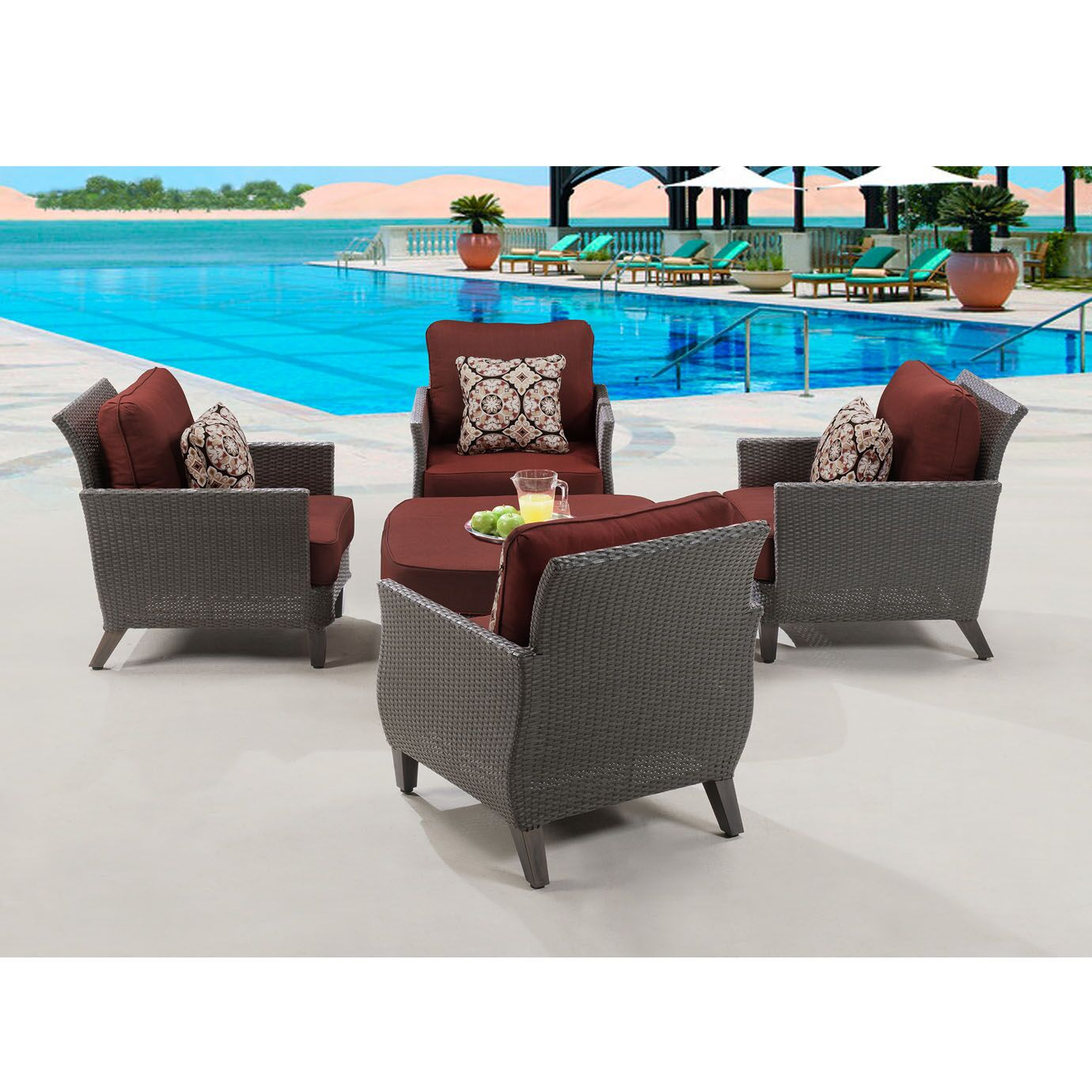 Cowger 5 Piece Conversation Set with Cushions Color: Crimson Red