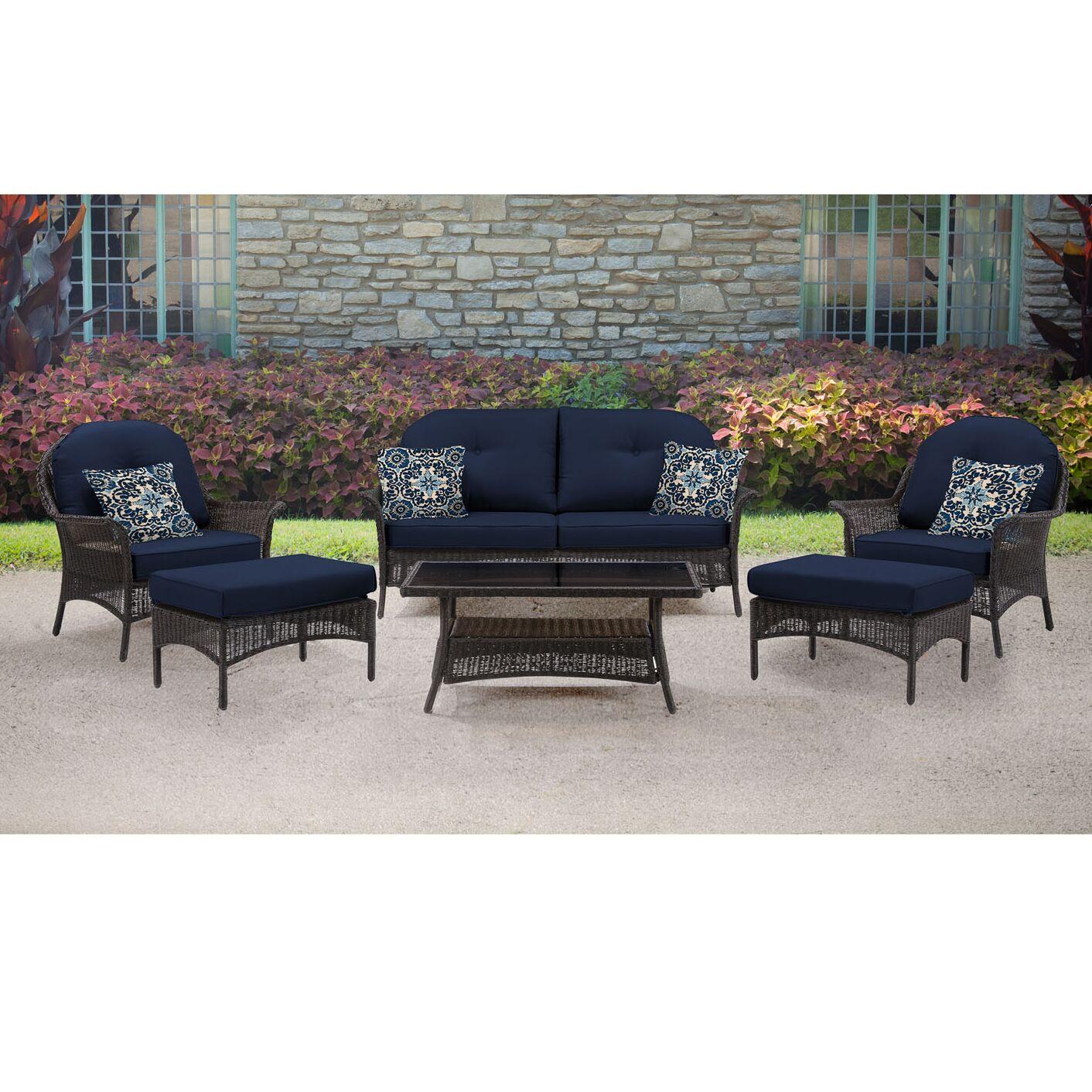 Kinnison 6 Piece Sofa Set with Cushions Fabric: Navy Blue