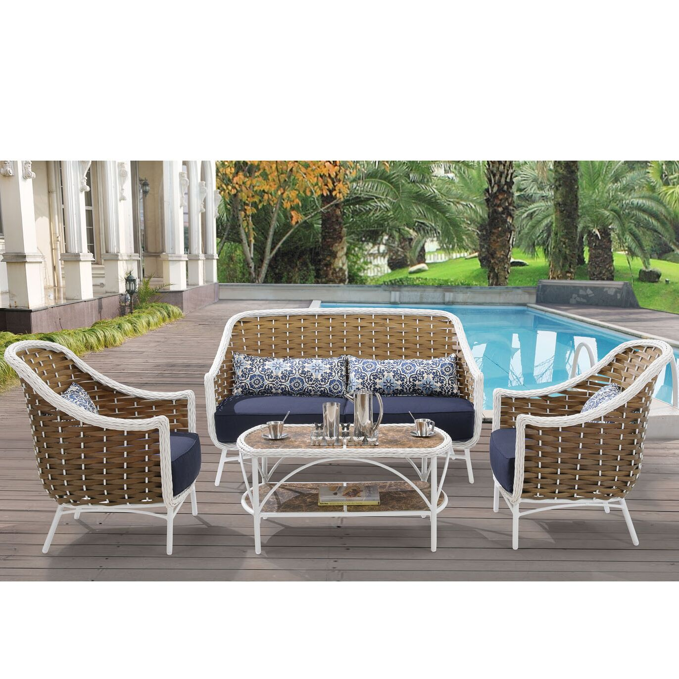 Cowgill4 Piece Sofa Set with Cushions