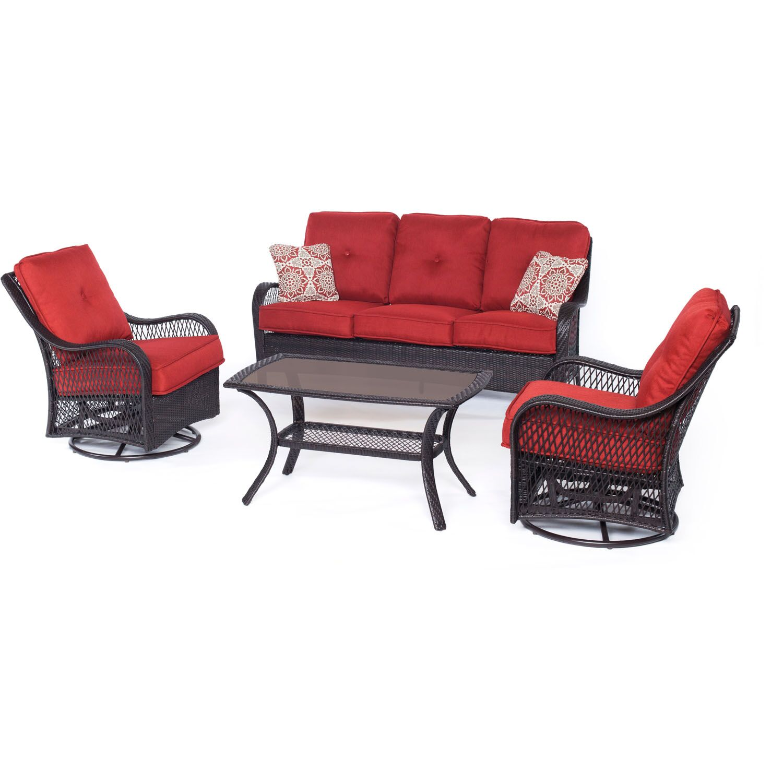 Innsbrook 4 Piece Sofa Set  with Cushions Color: Autumn Berry