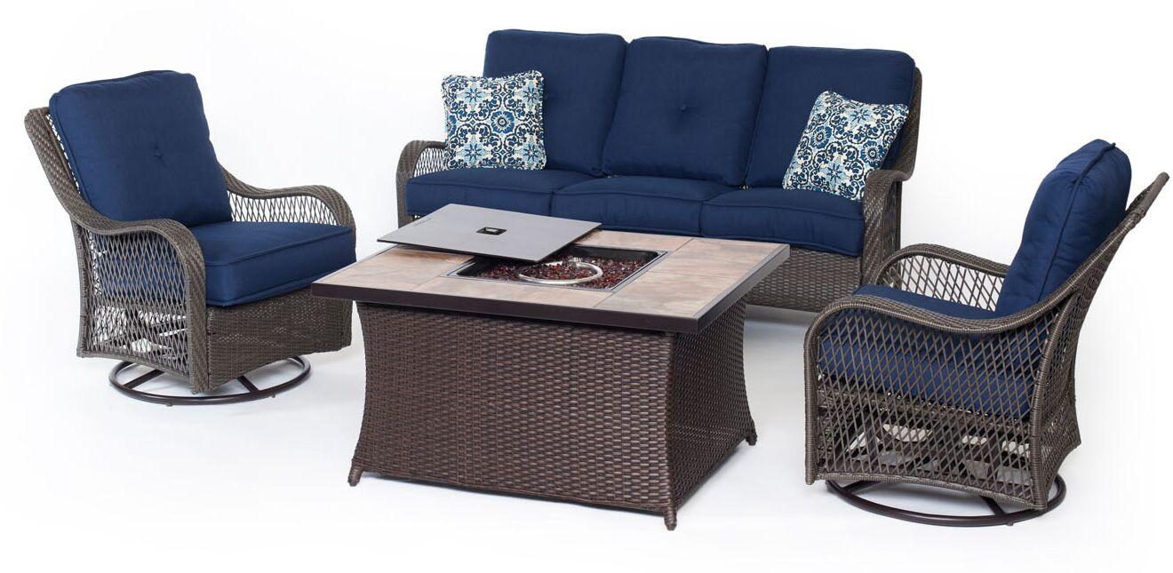 Innsbrook 4 Piece Sofa Set with Cushions Fabric: Navy Blue