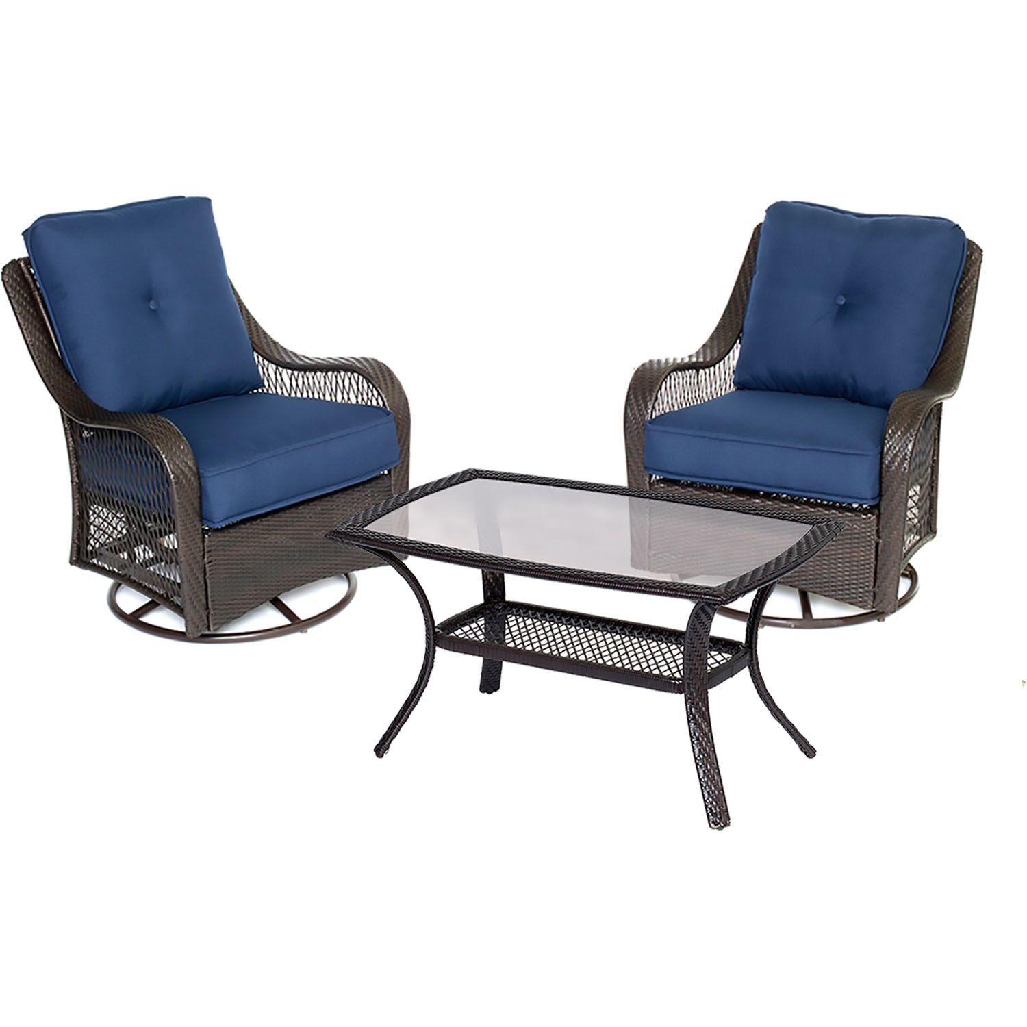 Innsbrook 3 Piece Conersation Set with Cushions Fabric: Navy Blue