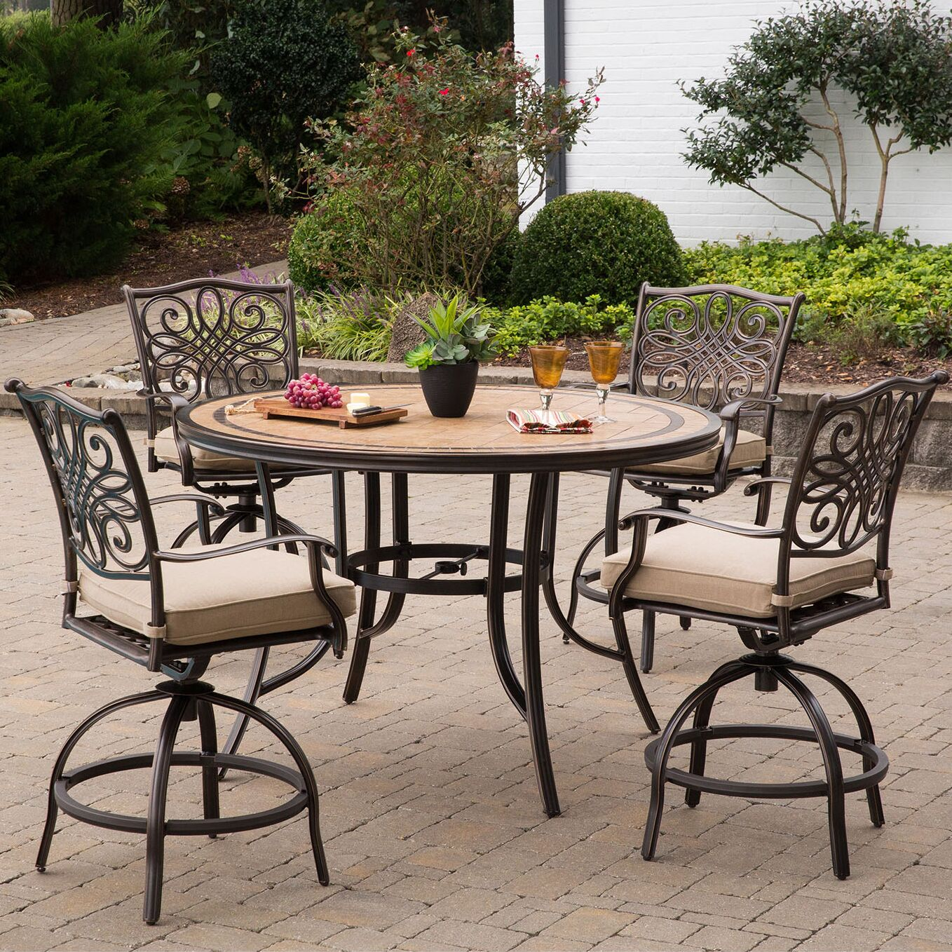 Bucci 5 Pieces High-Dining Set with Cushions Cushion Color: Tan
