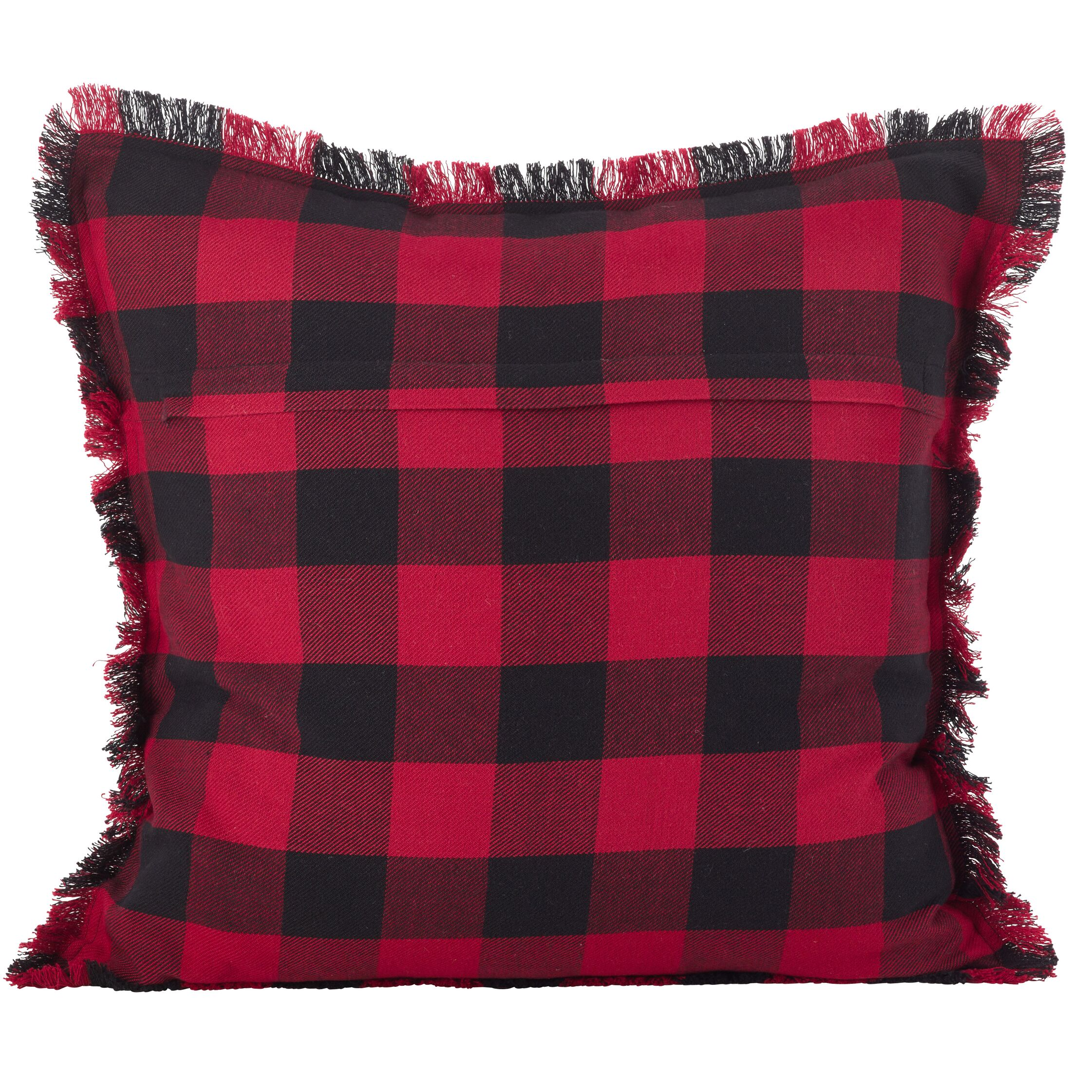 Corina  Buffalo Check Plaid Fringe Trim Classic Cotton Throw Pillow