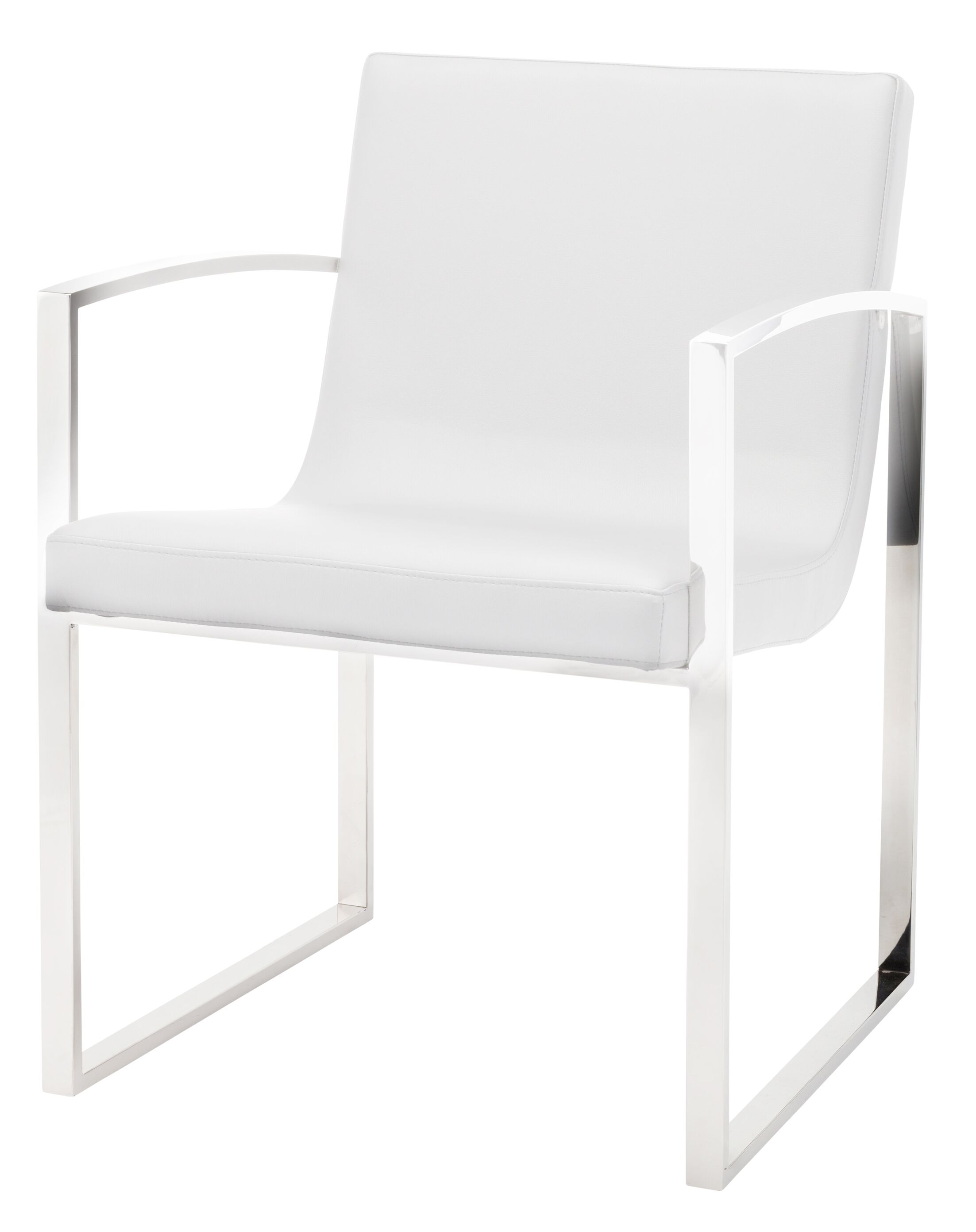 Clara Arm Chair Finish: Polished Stainless Steel, Upholstery Color: White