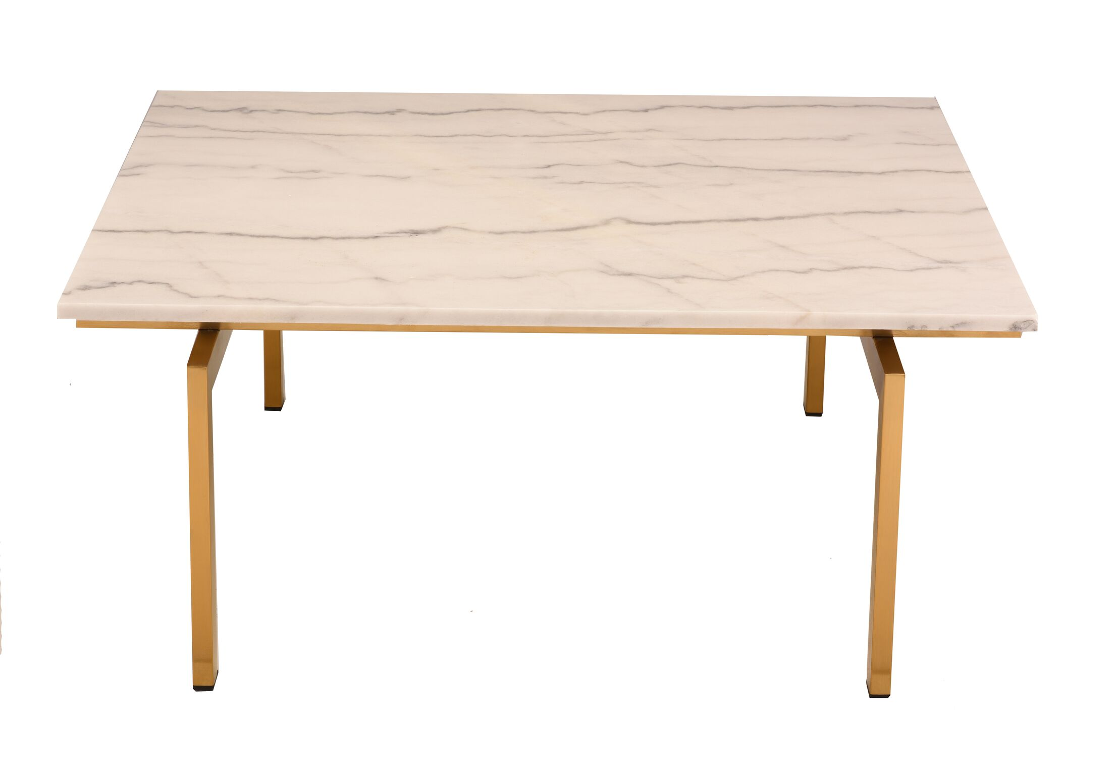 Carsten Coffee Table Table Top Color: White, Table Base Color: Brushed Gold