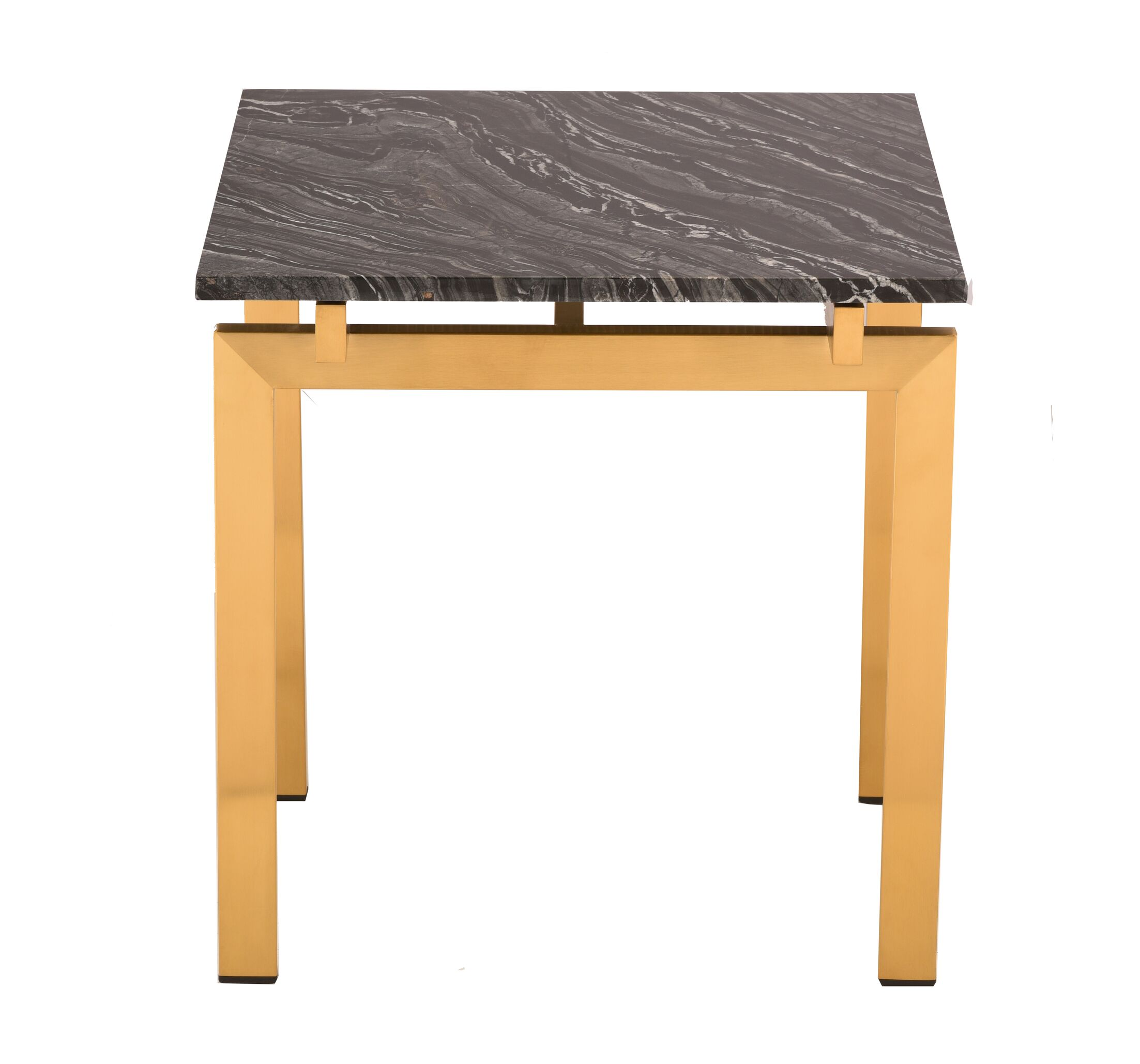 Carsten End Table Table Base Color: Gold, Table Top Color: Black