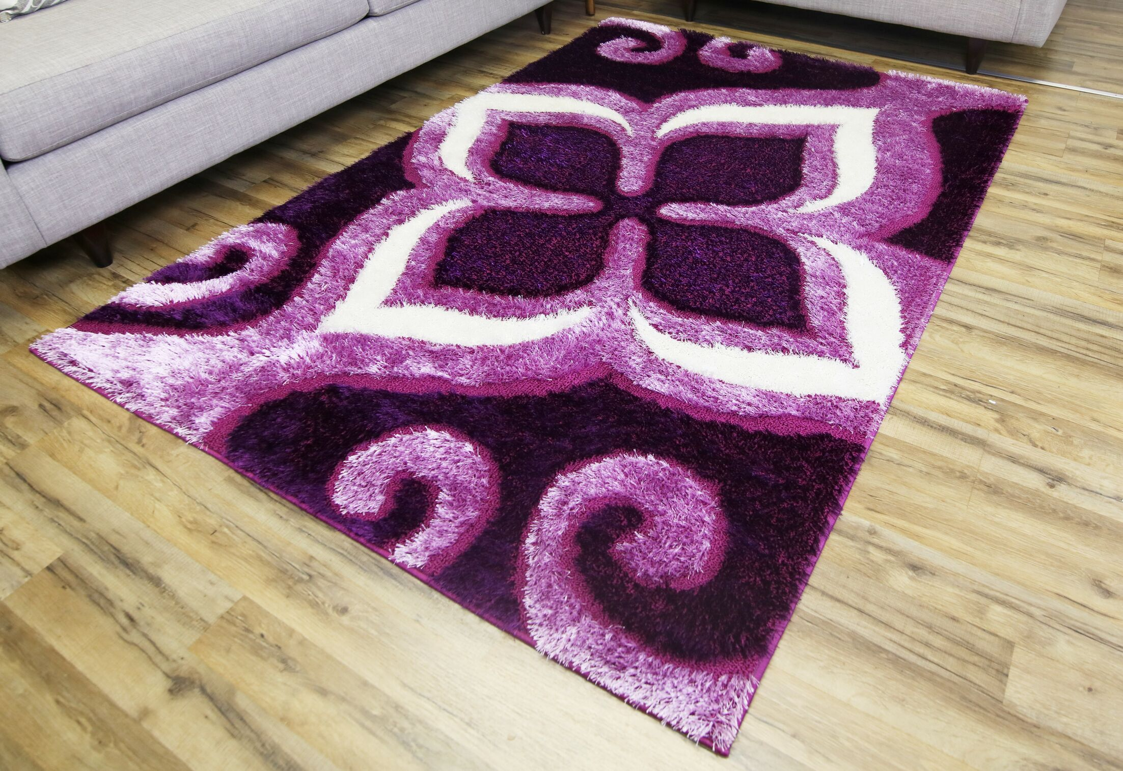 Gloria Purple Area Rug Rug Size: 5'3