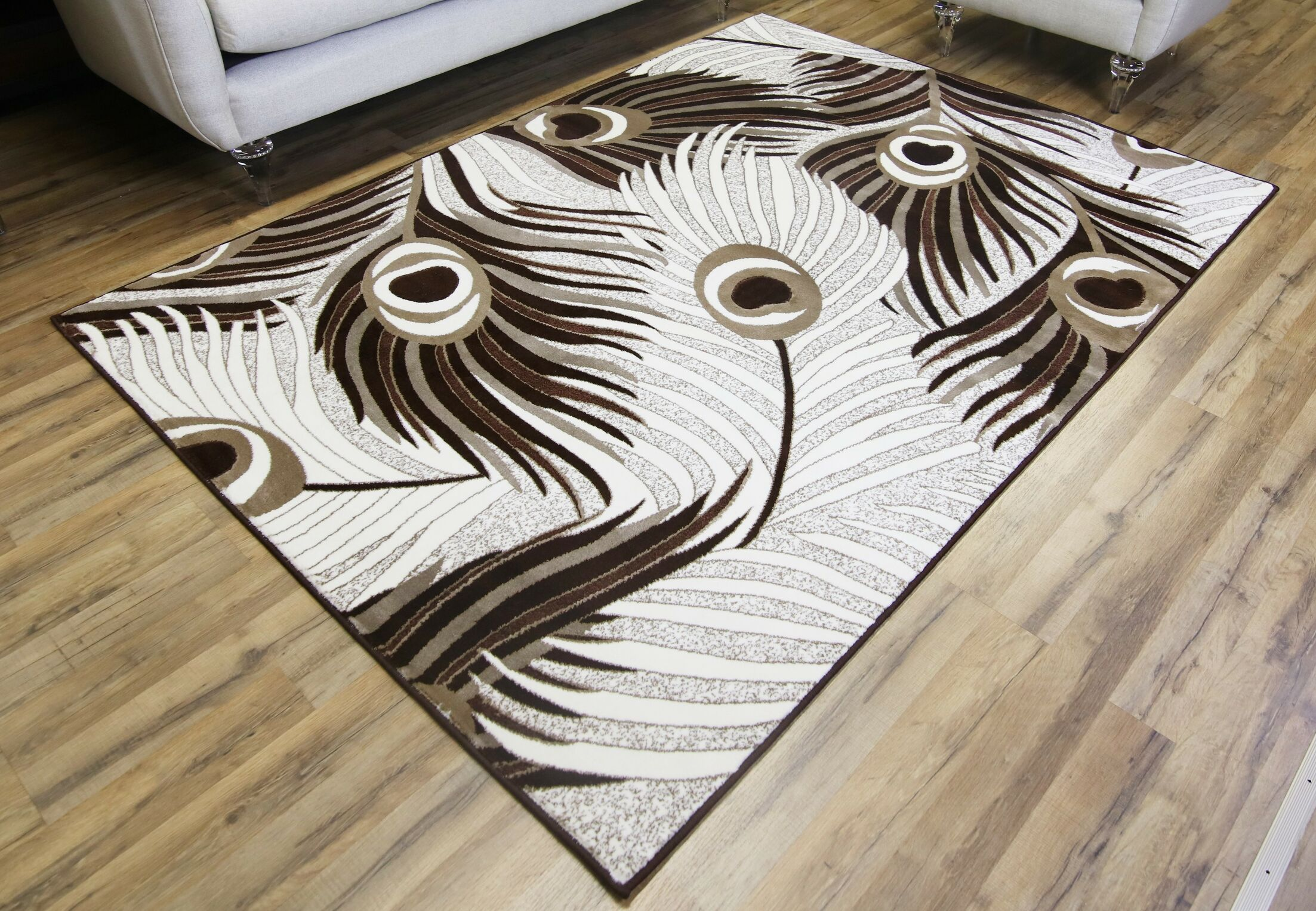 Crystal Cream/Brown Area Rug Rug Size: 7'10