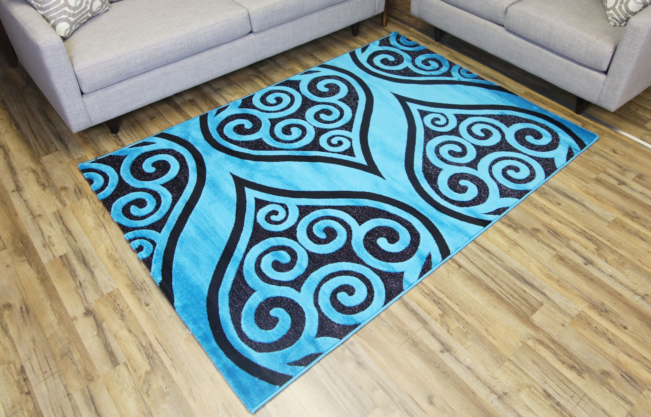 Shonil Blue/Black Area Rug Rug Size: Rectangle 5'3