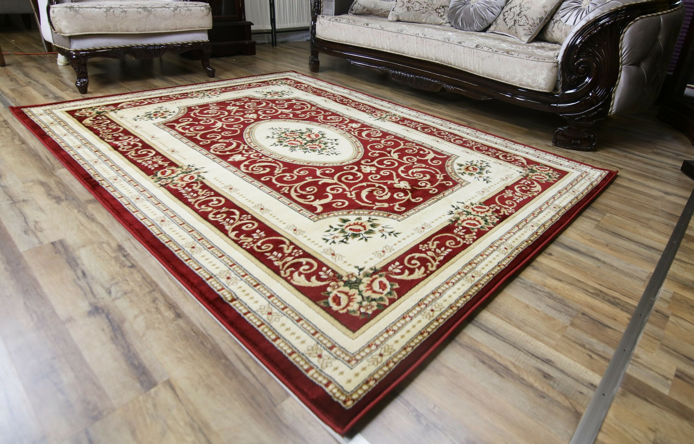 Super Belkis Red/Cream Area Rug Rug Size: 3'11