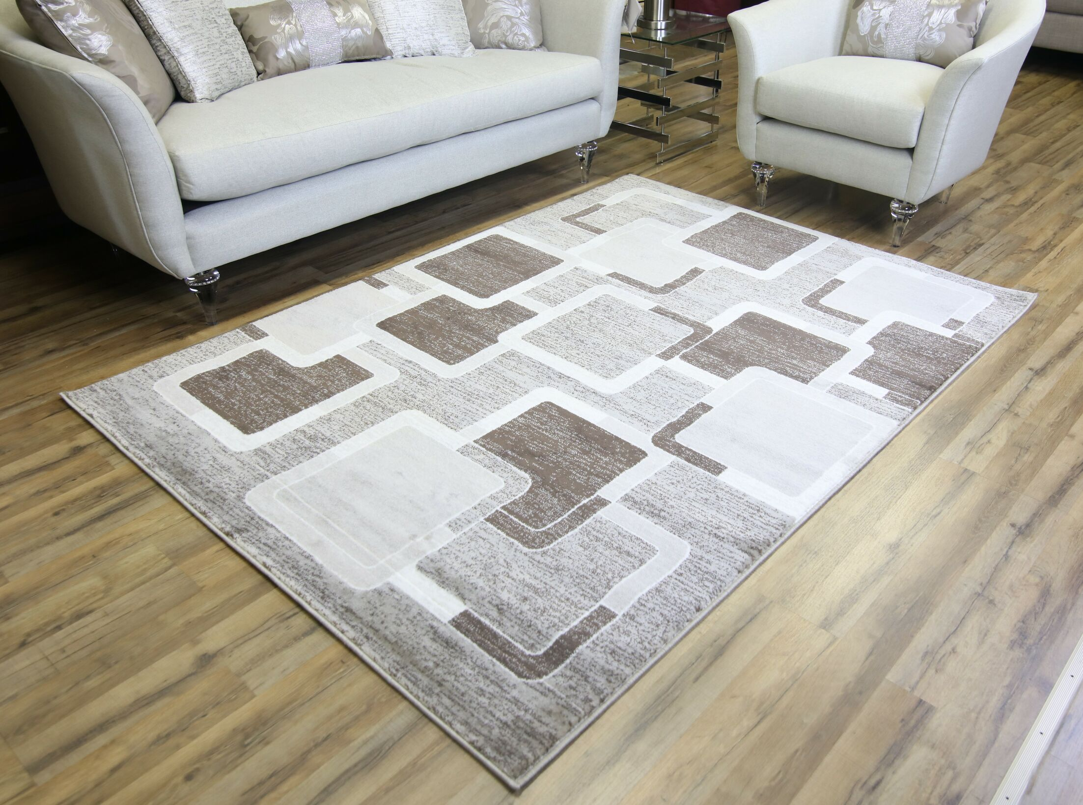 Passion Brown/Cream Area Rug Rug Size: 7'10