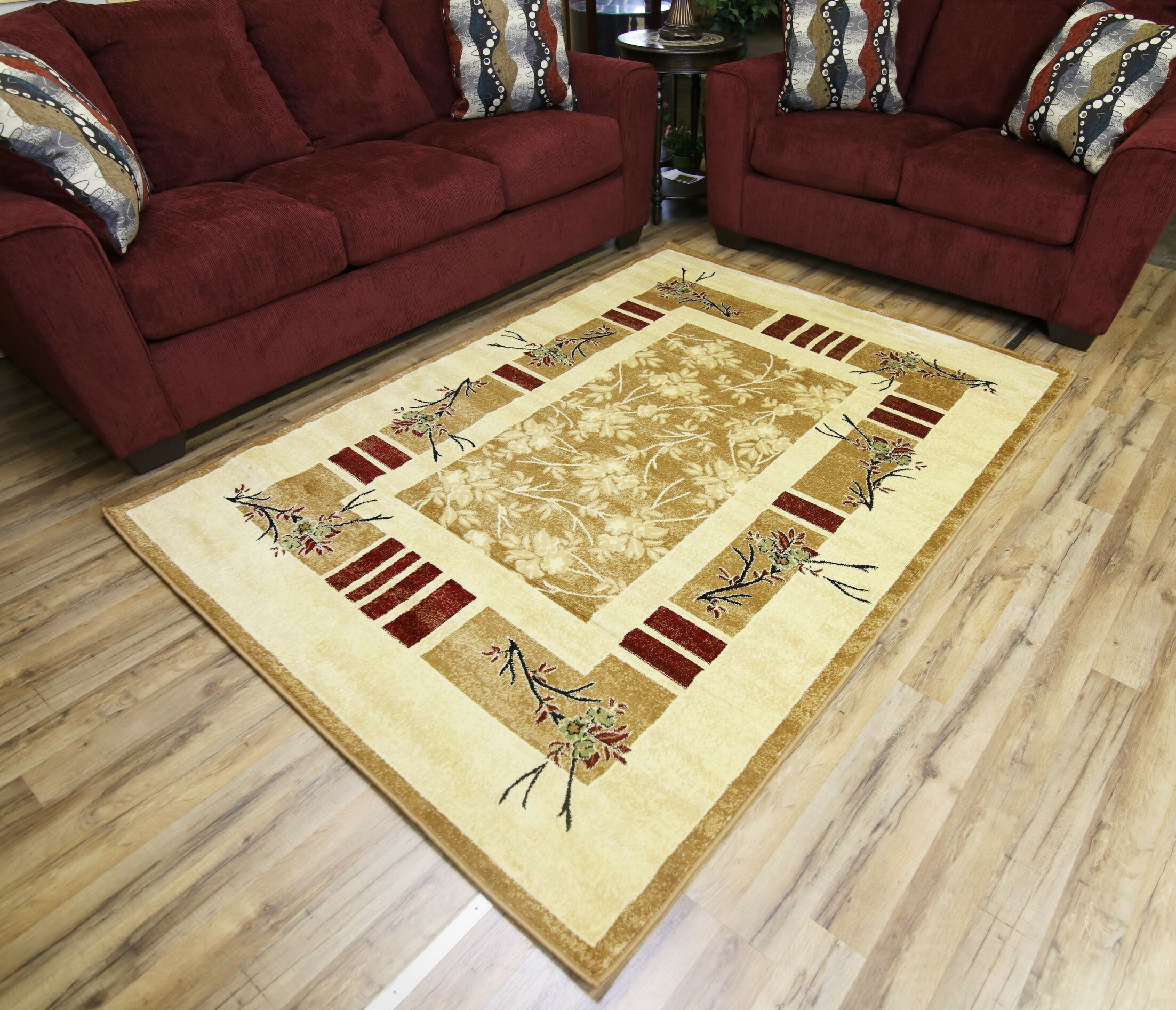 Passion Gold/Beige Area Rug Rug Size: 5'3