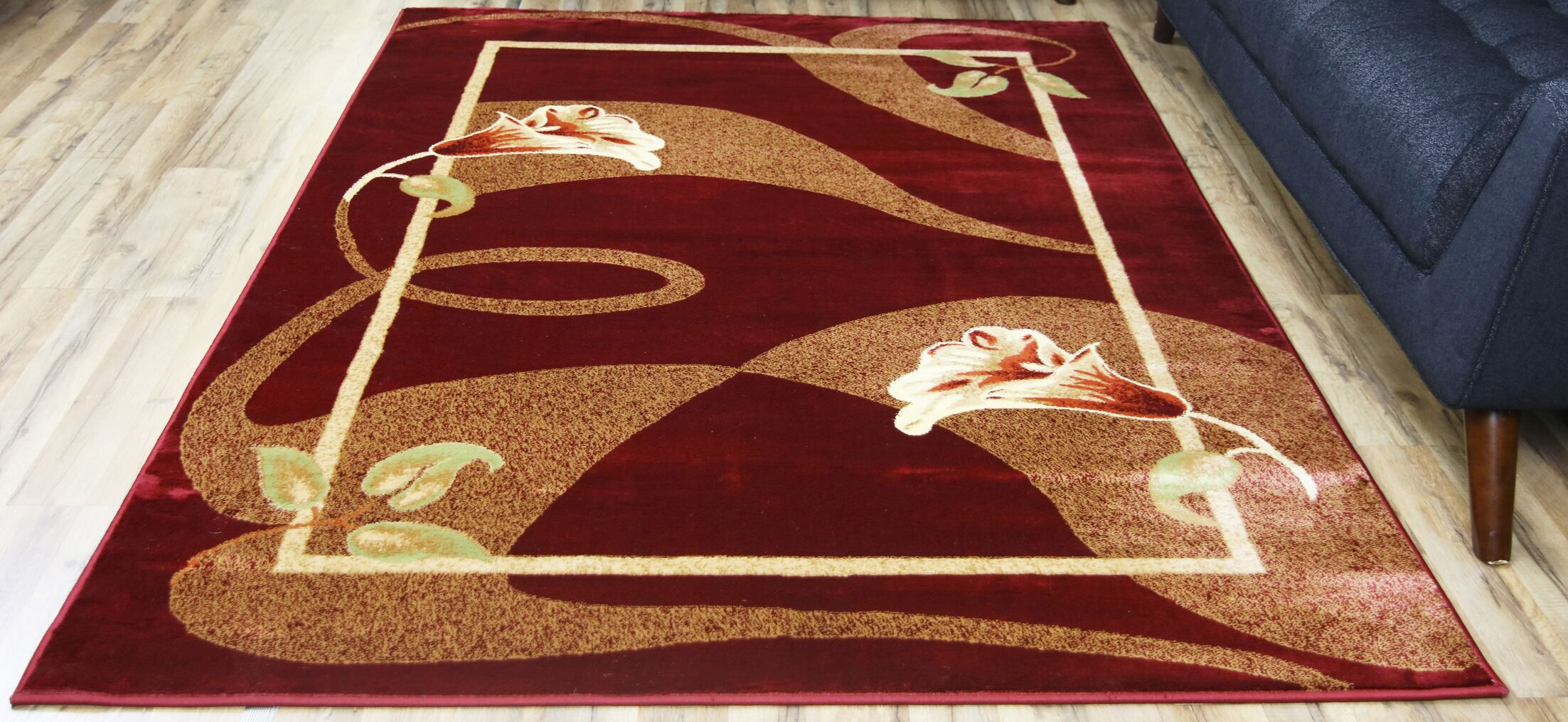 Passion Red/Cream Area Rug Rug Size: Rectangle 5'3