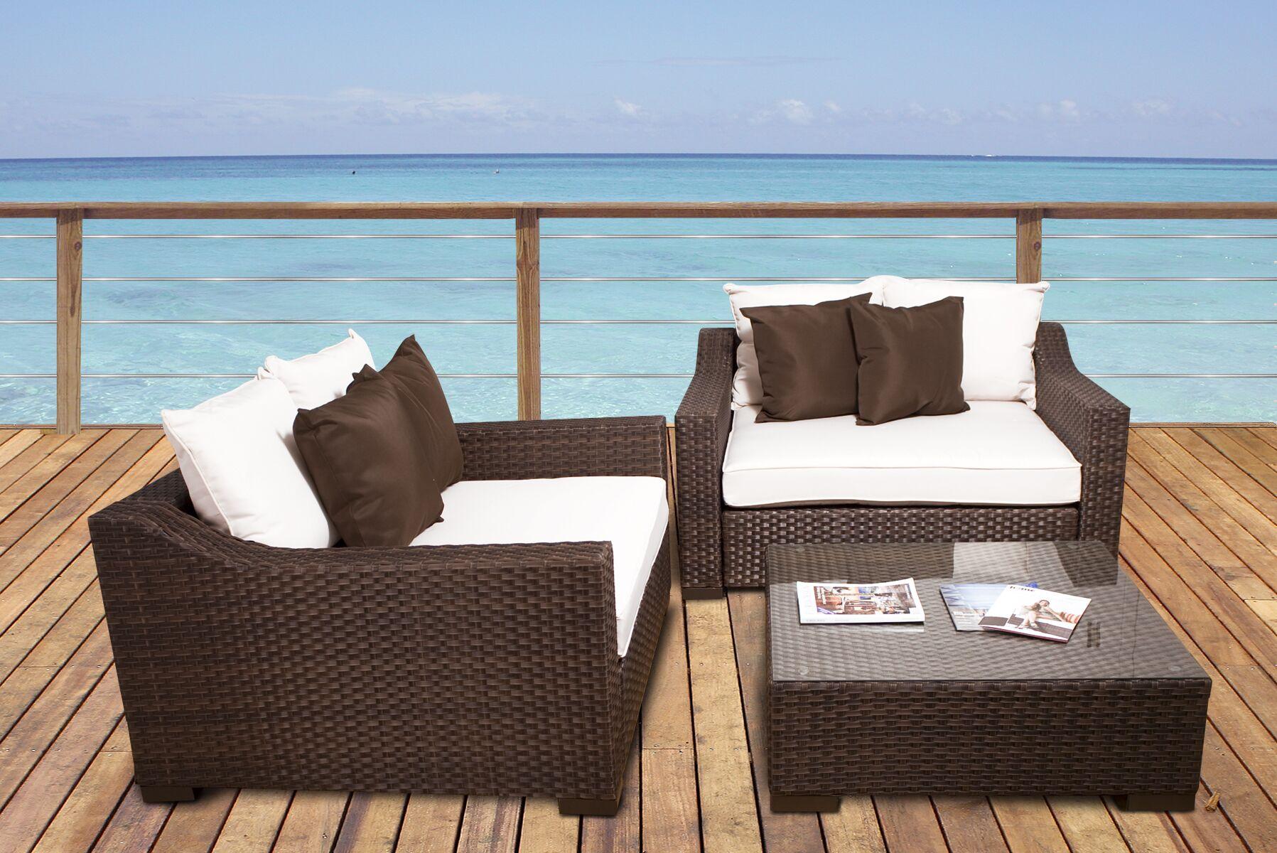 Jermal Wicker 3 Piece Rattan Sunbrella Conversation Set with Cushions Cushion Color: Off-White