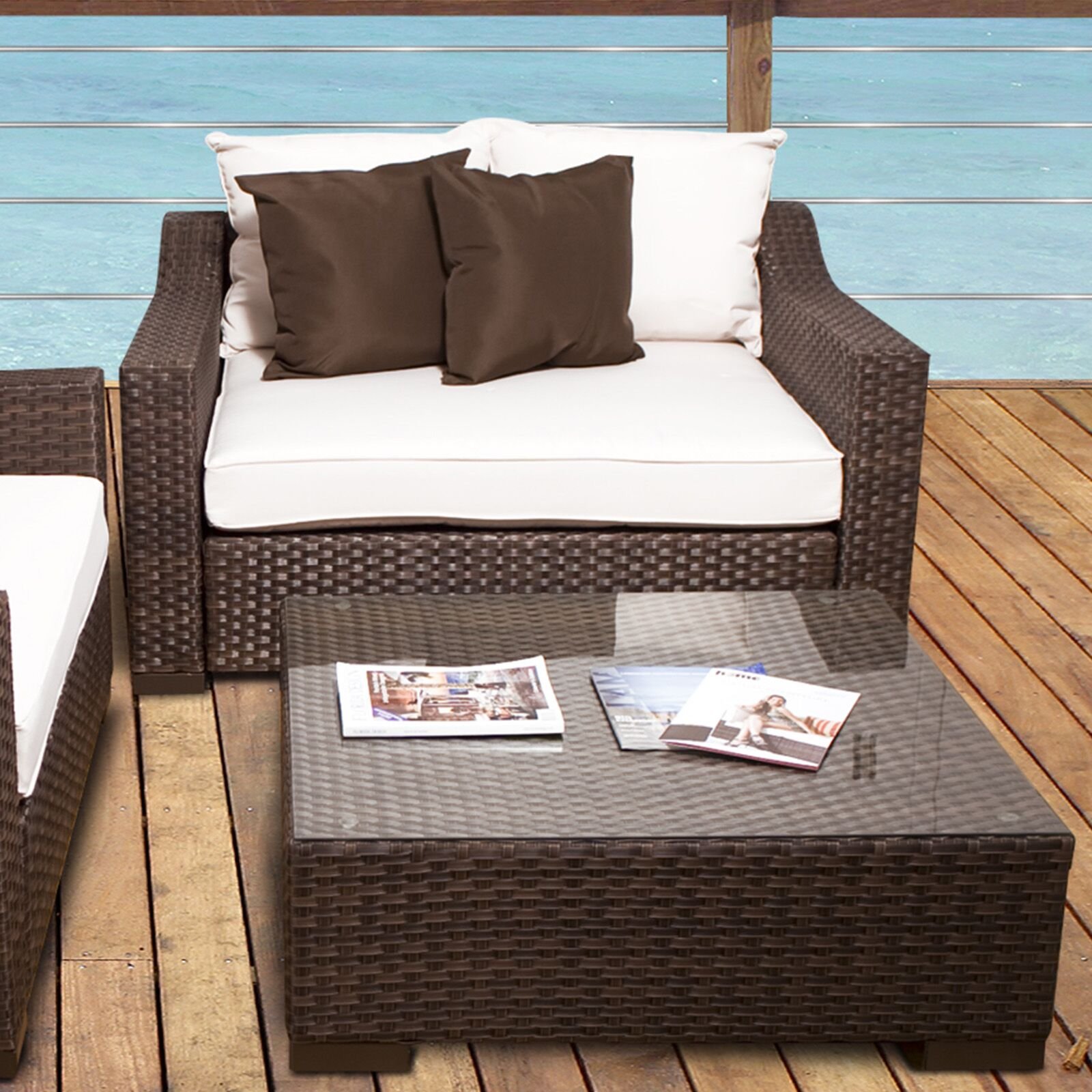 Jermal Wicker Loveseat with Cushion Color: Off-White